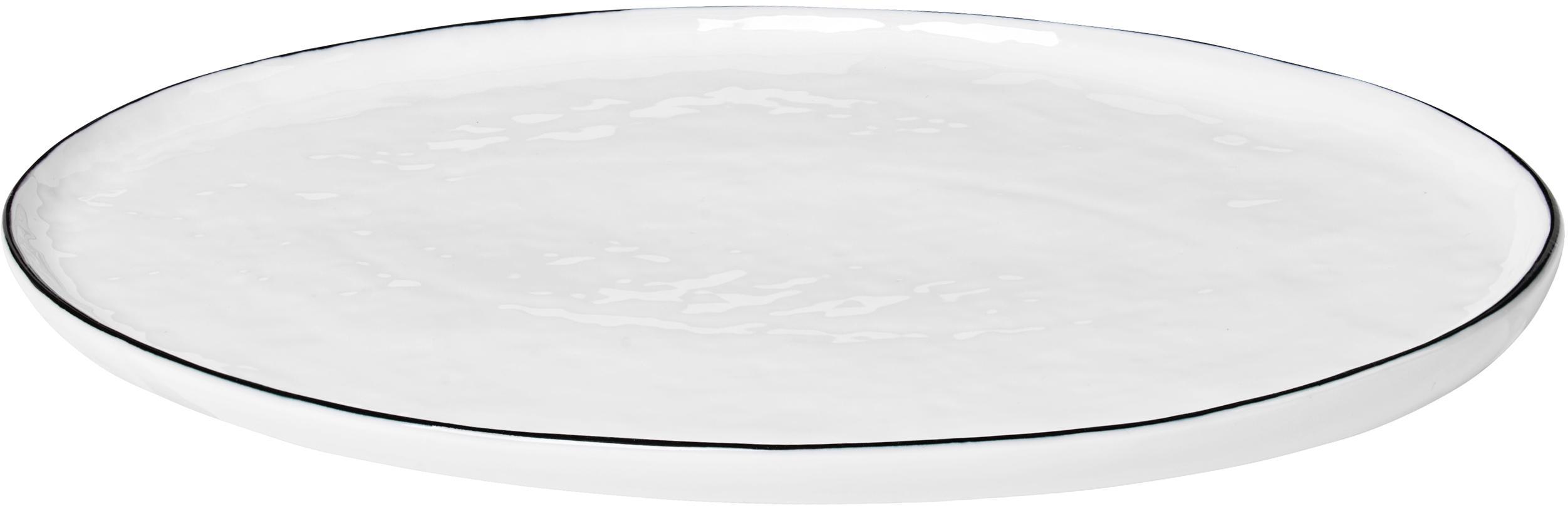 Fuente artesanal Salt, Porcelana, Blanco crudo, negro, An 20 x L 30 cm