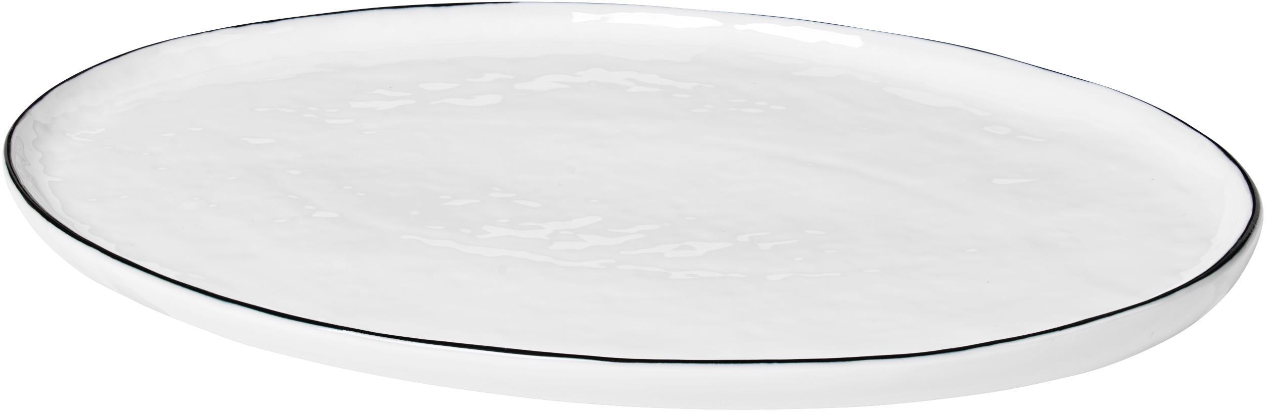 Handgemachte Servierplatte Salt mit schwarzem Rand, Porzellan, Gebrochenes Weiss, Schwarz, 20 x 30 cm