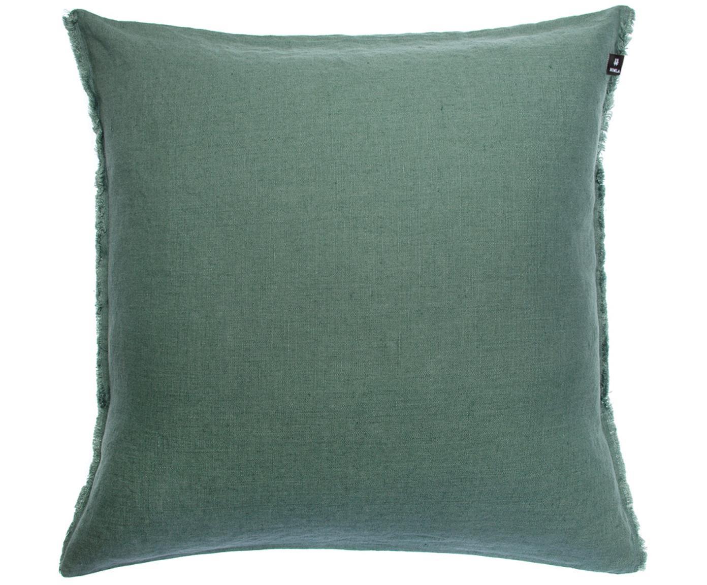 Poduszka z lnu Sunshine Fringe, Zielony, 50 x 50 cm