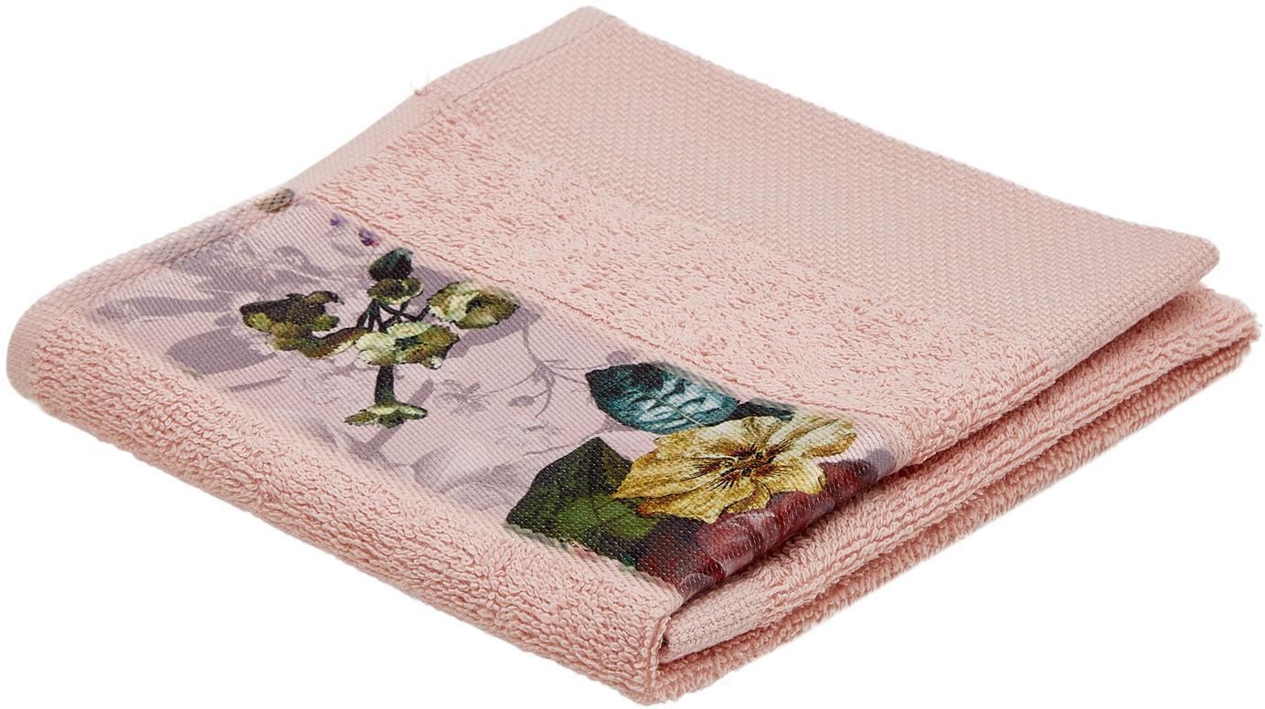 Handdoek Fleur met bloemenrand, 97% katoen 3% polyester, Roze, multicolour, Gastendoekje