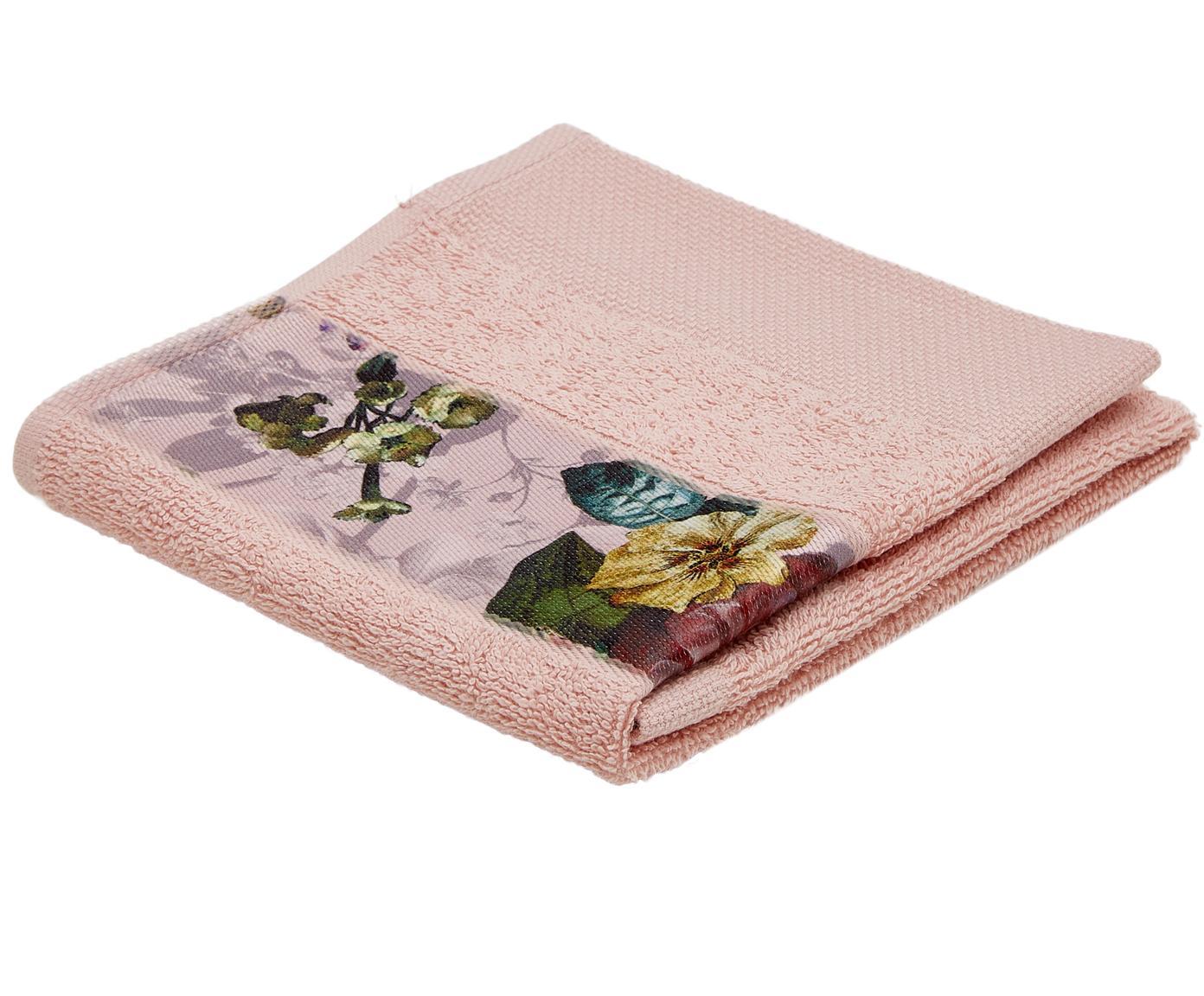 Handtuch Fleur mit Blumen-Bordüre, 97% Baumwolle, 3% Polyester, Rosa, Mehrfarbig, Gästehandtuch