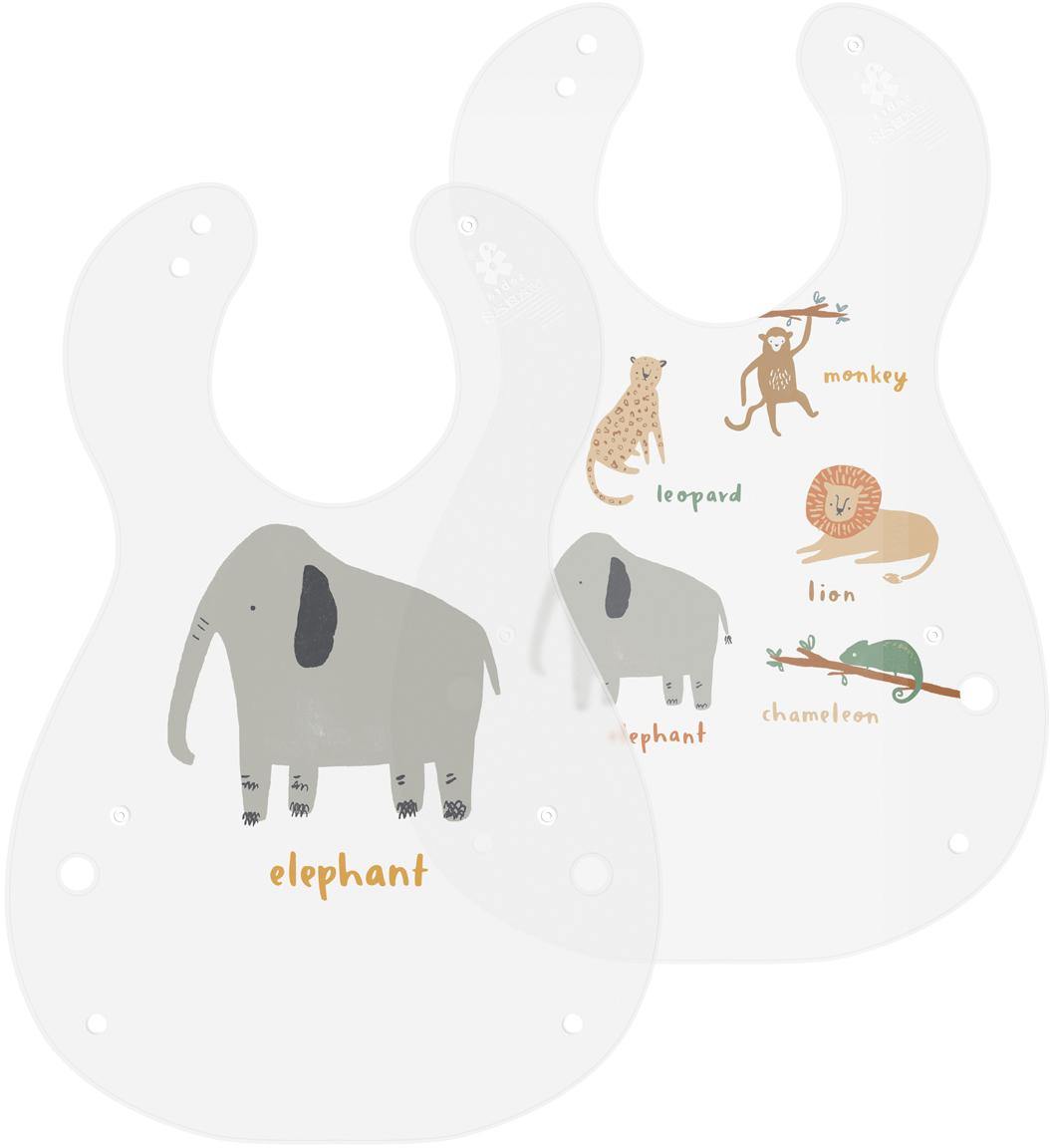 Bavaglino per neonati Wildlife, 2 pz., Materiale sintetico, Semi trasparente, multicolore, Larg. 28 x Alt. 41 cm