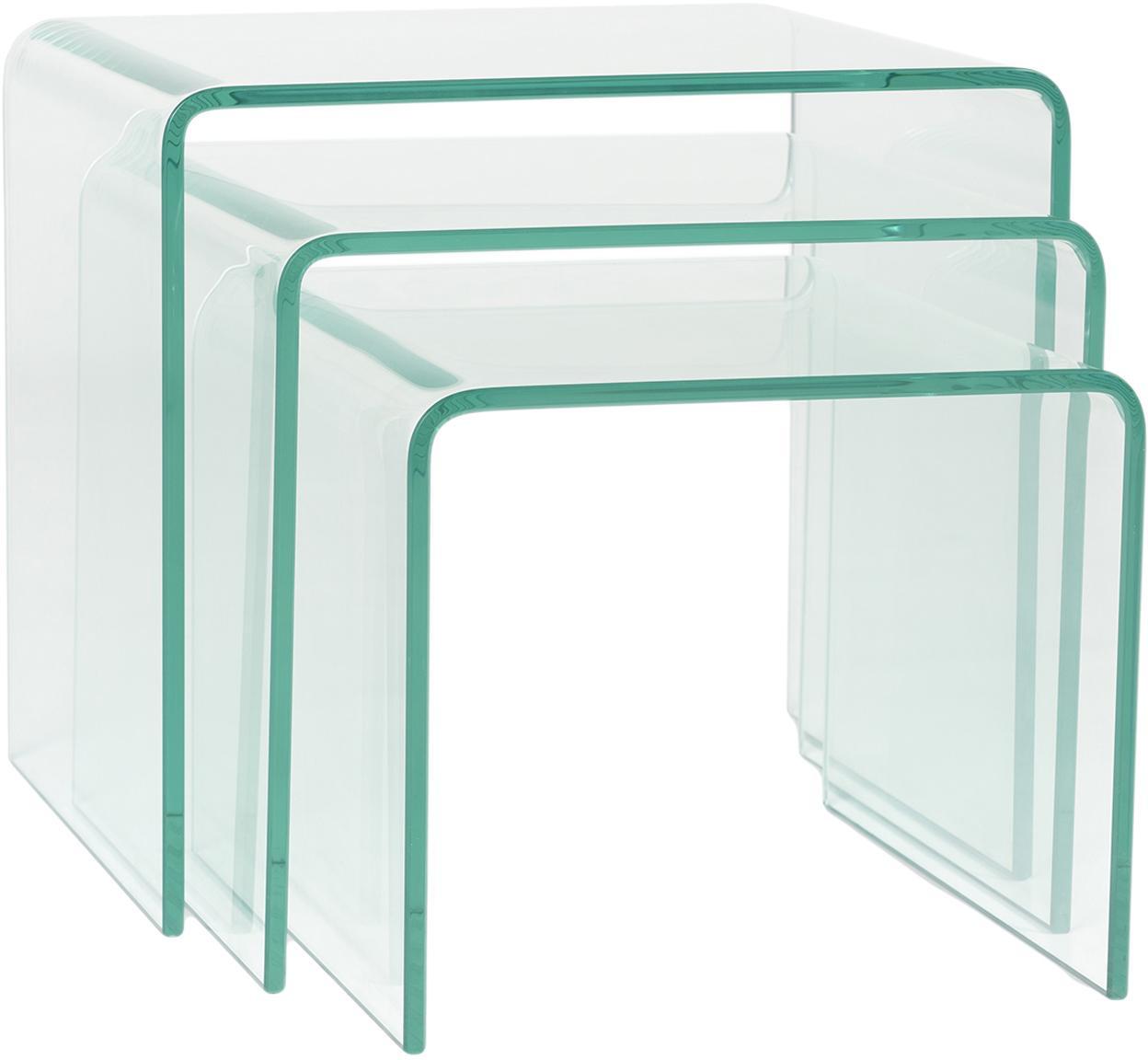 Set de mesas auxiliares Ringo, 3pzas., Vidrio templado, Transparente, Set de diferentes tamaños