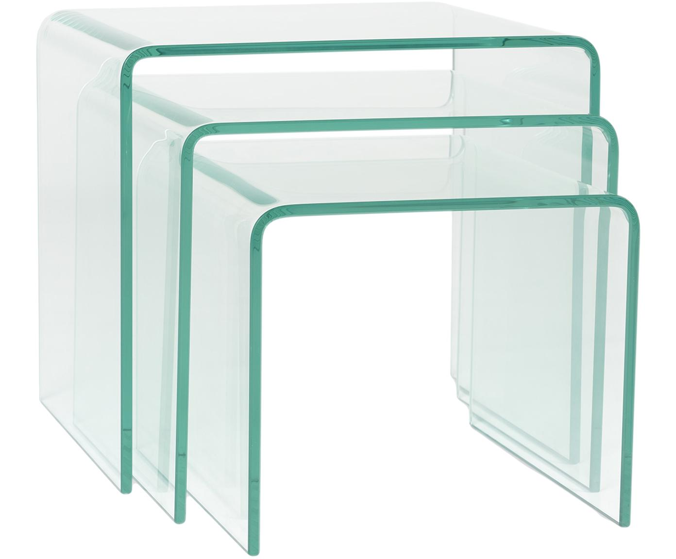 Set de mesas auxiliares Ringo, 3pzas., Vidrio templado, Transparente, Tamaños diferentes