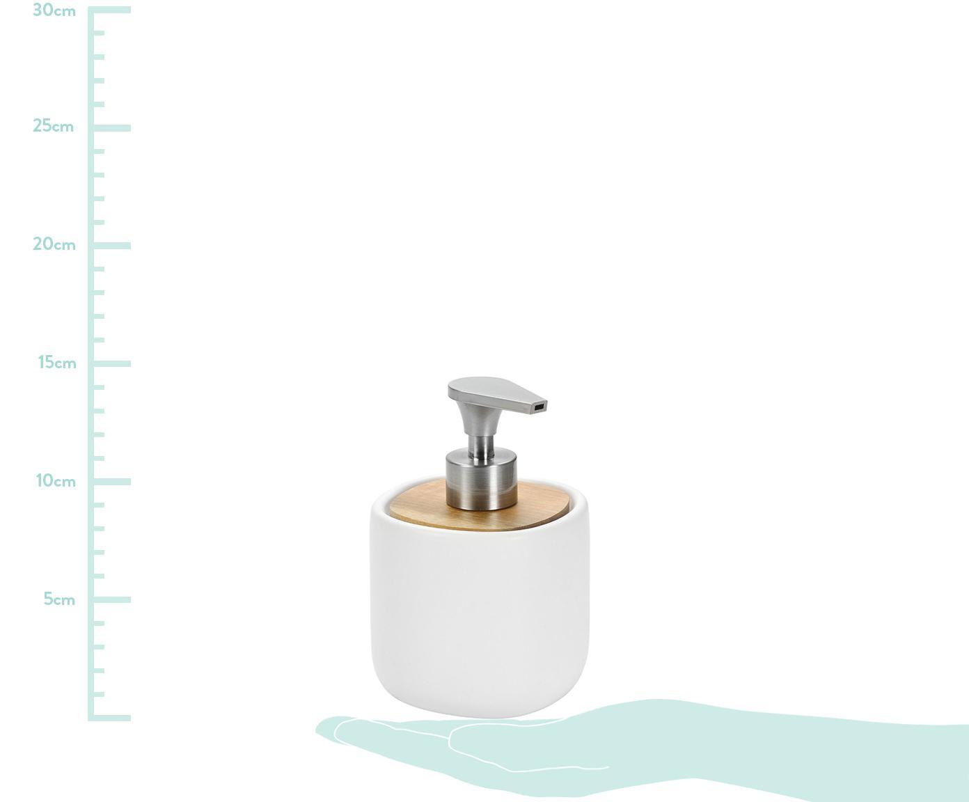Dozownik do mydła Wili, Biały, drewno akacjowe, Ø 10 x W 14 cm