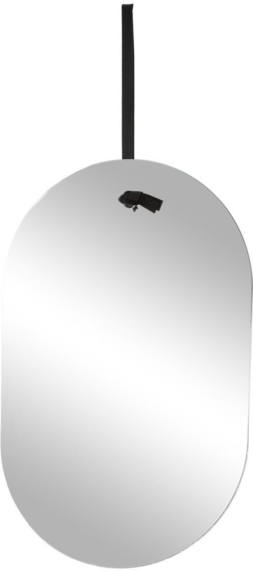 Ovaler Wandspiegel Terry mit schwarzer Aufhängung, Spiegelfläche: Spiegelglas, Spiegelglas, Schwarz, 24 x 38 cm