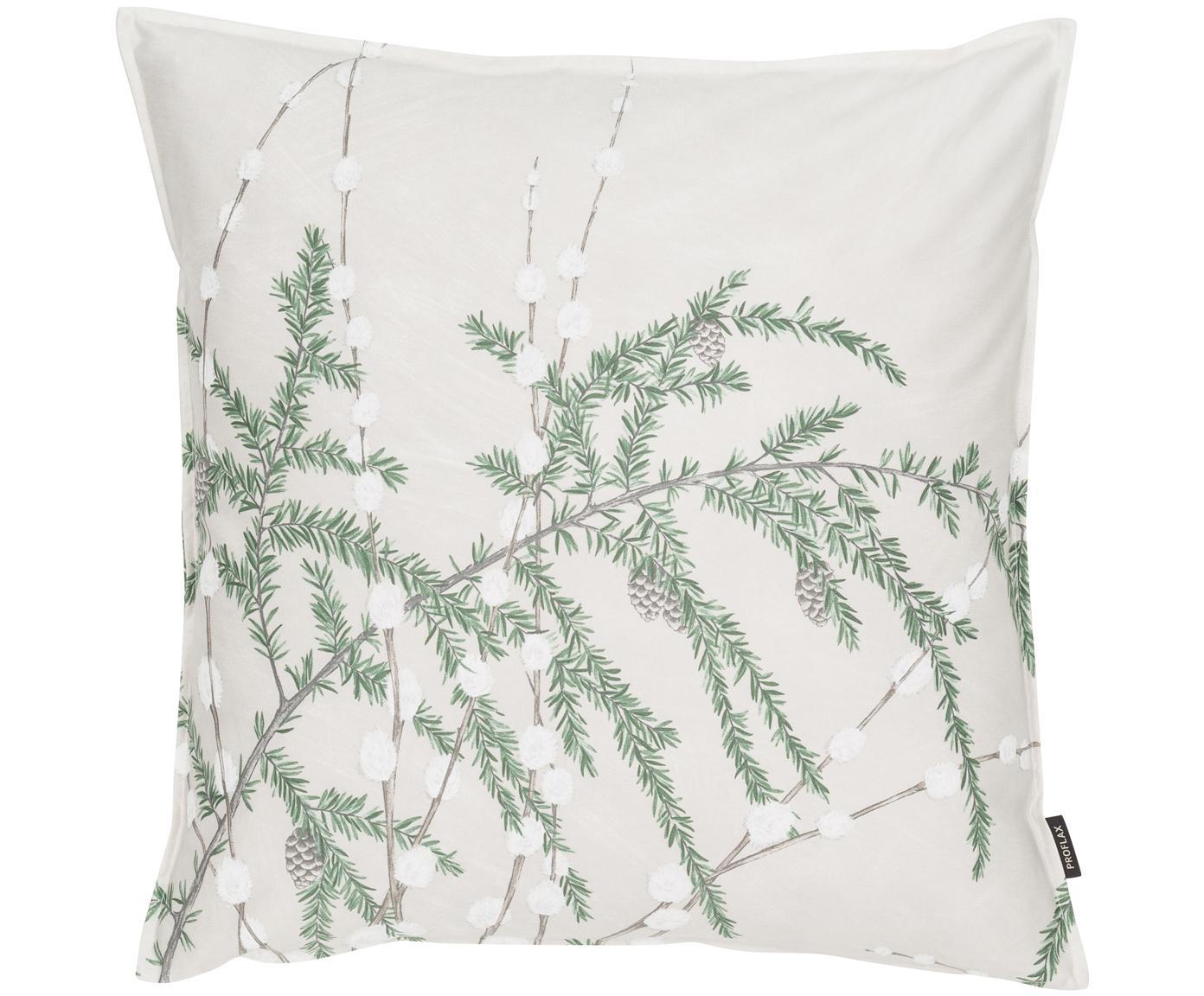 Kissenhülle Cedar mit winterlichem Motiv, Baumwolle, Vorder- und Rückseite: Beige, Grün, Weiß, 50 x 50 cm