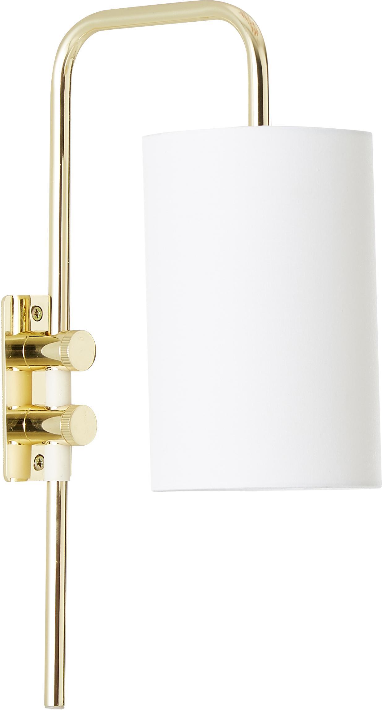 Applique con spina Isa, Paralume: Miscela di cotone, Base della lampada: dorato, lucido Paralume: bianco, Larg. 12 x Alt. 38 cm
