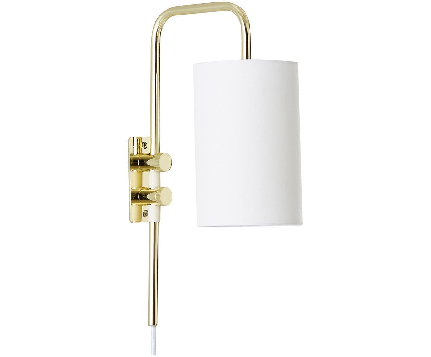 Wandlamp Isa met stekker, Lampenkap: katoenmix, Lampframe: glanzend goudkleurig. Lampenkap: wit, 12 x 38 cm