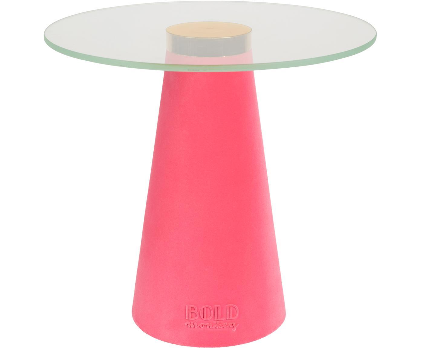 Stolik pomocniczy ze szklanym blatem Leader Of The Fanclub, Blat: szkło hartowane, Noga: poliresing powlekany, alu, Różowy, Ø 40 x W 39 cm