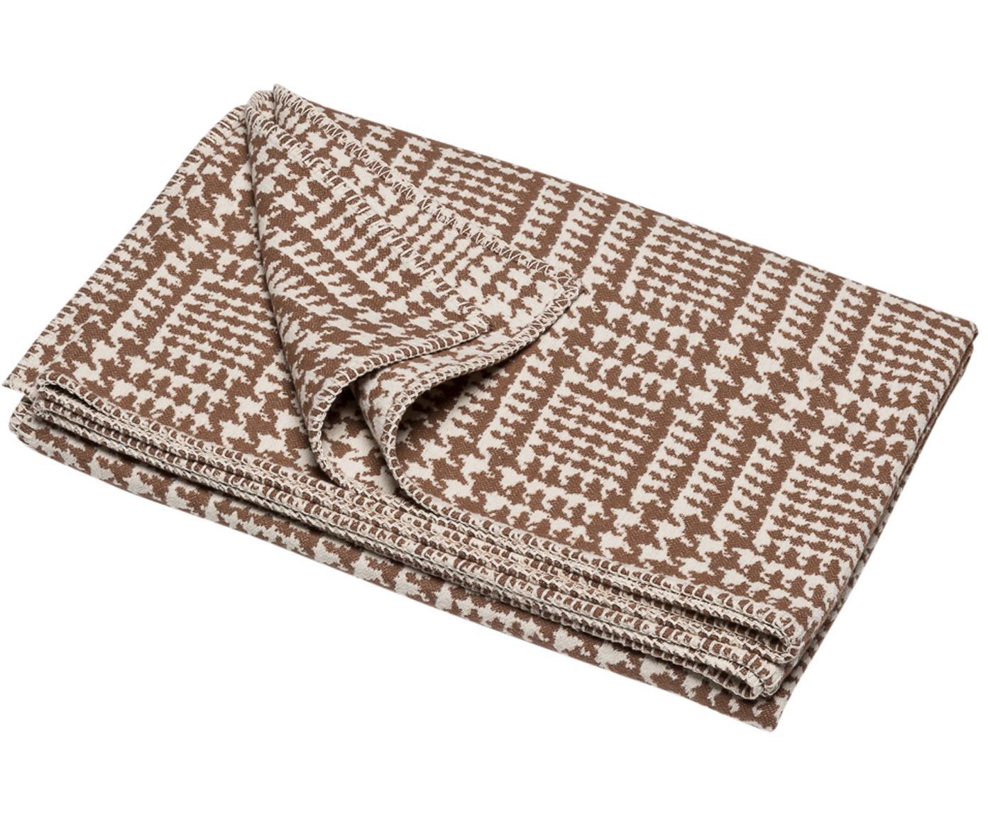 Plaid Glencheck mit Hahnentritt Muster, Bezug: 85% Baumwolle, 8% Viskose, Braun, Weiss, 145 x 220 cm