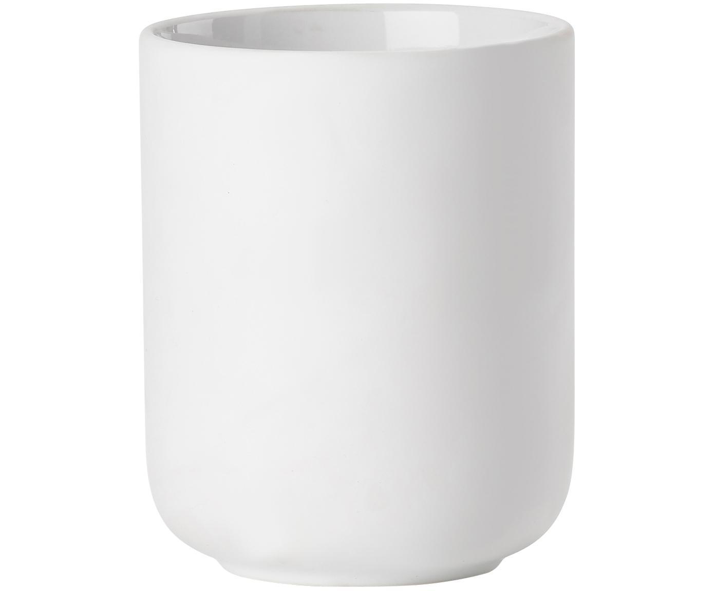 Kubek na szczoteczki z kamionki Omega, Ceramika pokryta miękką w dotyku powłoką (tworzywo sztuczne), Biały, matowy, Ø 8 x W 10 cm