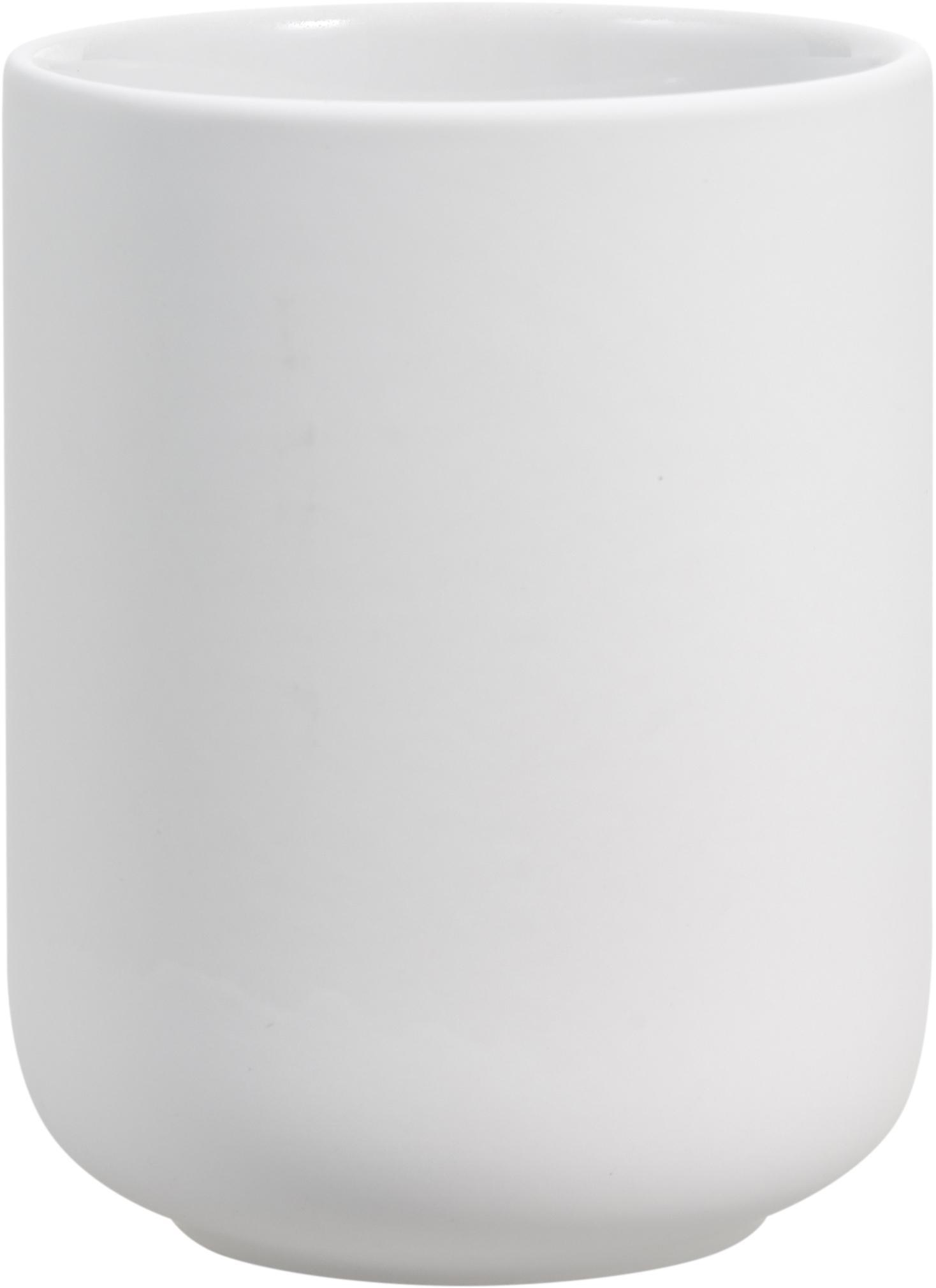 Porta spazzolini in terracotta Ume, Terracotta rivestita con superficie soft-touch (materiale sintetico), Bianco opaco, Ø 8 x Alt. 10 cm