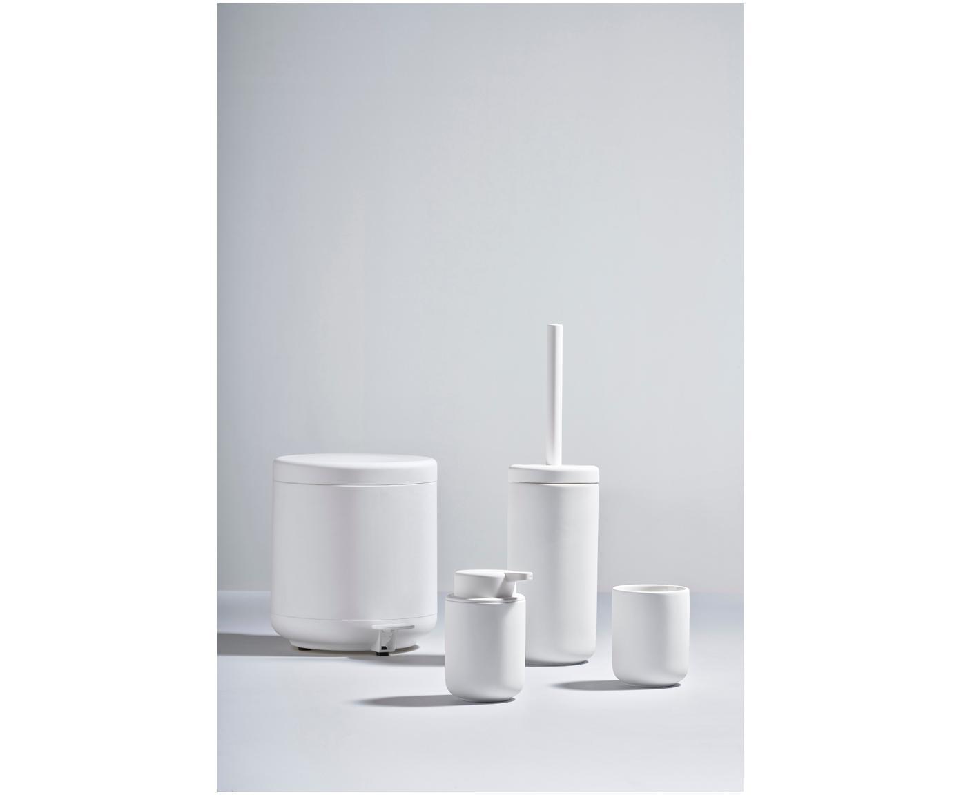 Tandenborstelbeker Omega, Keramiek overtrokken met soft-touch oppervlak (kunststof), Mat wit, Ø 8 x H 10 cm