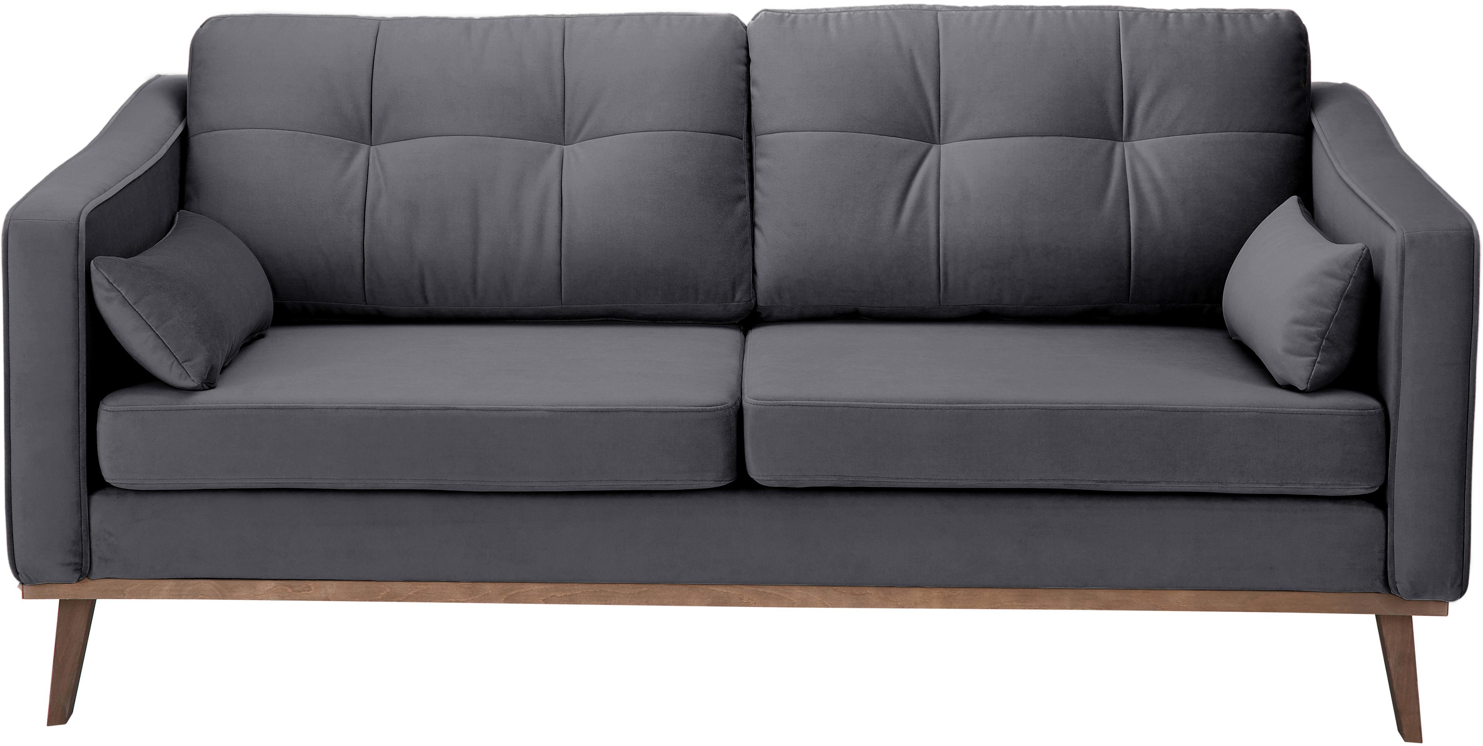 Samt-Sofa Alva (2-Sitzer), Bezug: Samt (Hochwertiger Polyes, Gestell: Massives Kiefernholz, Füße: Massives Buchenholz, gebe, Dunkelgrau, B 184x T 94 cm