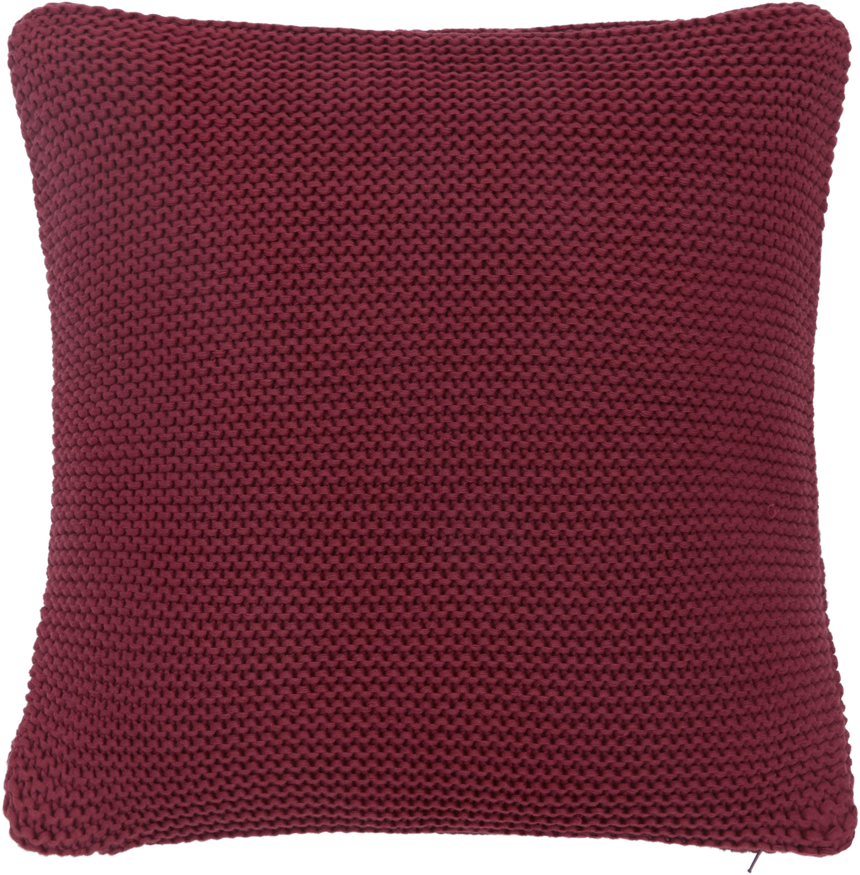 Federa arredo fatta a maglia rosso scuro Adalyn, 100% cotone, Rosso scuro, Larg. 40 x Lung. 40 cm