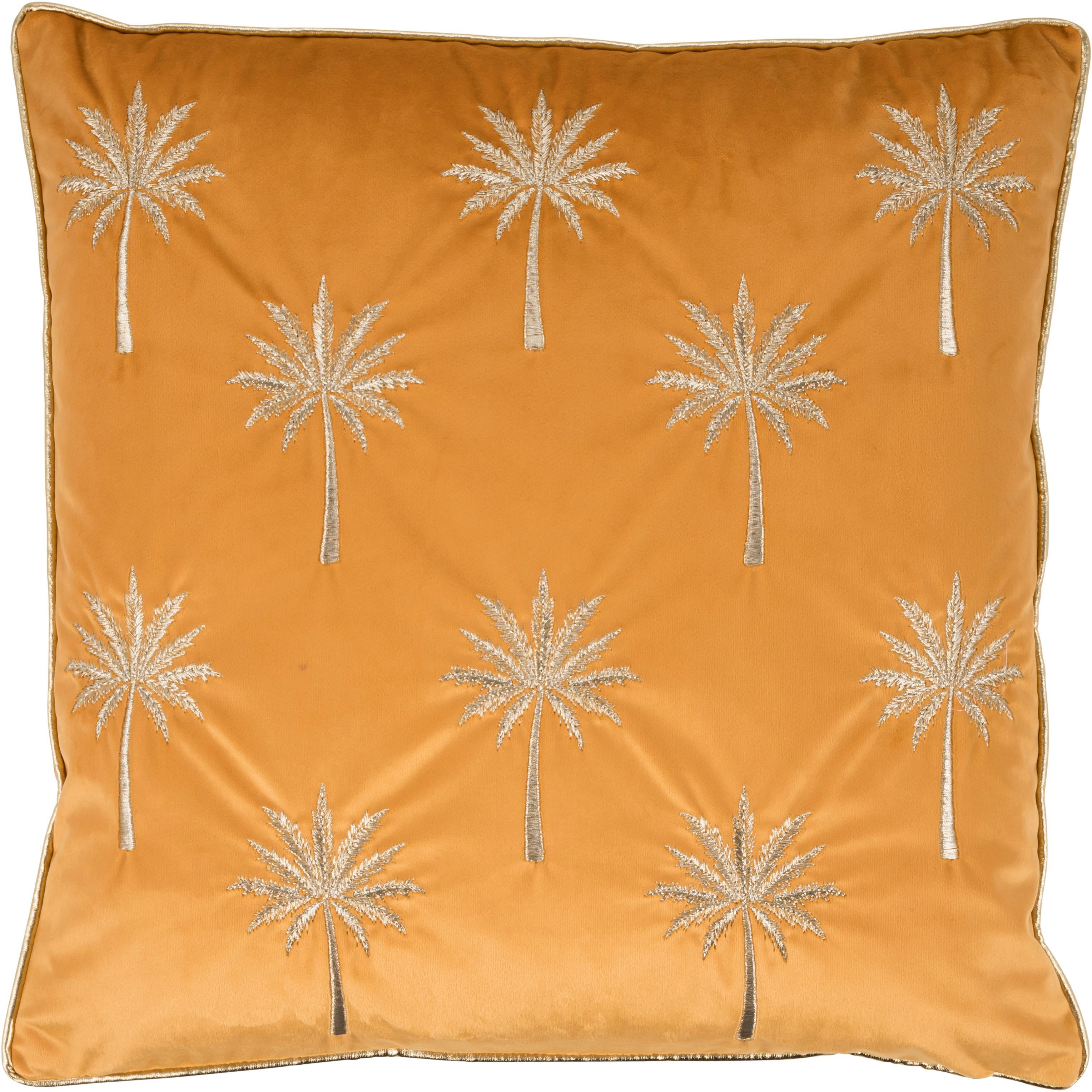 Bestickte Samt-Kissenhülle Palms mit Keder, 100% Samt (Polyester), Orangegelb, Goldfarben, 45 x 45 cm