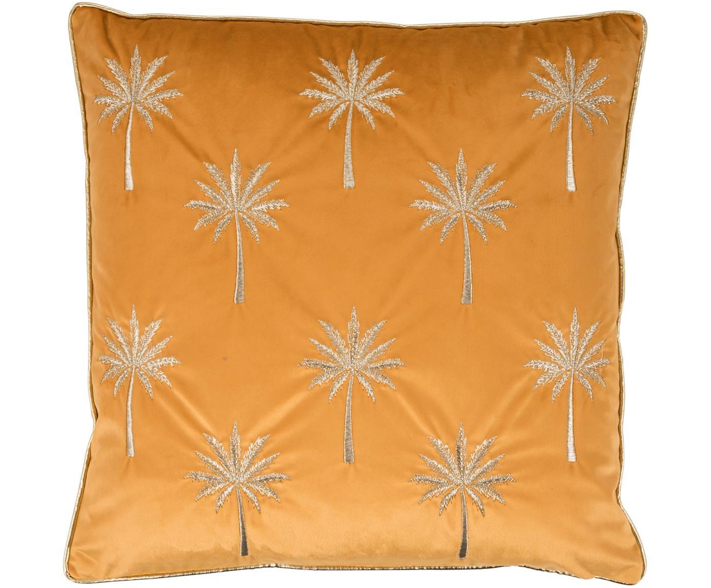 Haftowana poszewka na poduszkę z aksamitu Palms, Poliester, Pomarańczowo-żółty, odcienie złotego, S 45 x D 45 cm