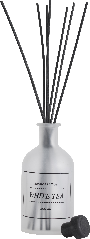 Diffusore White Tea (tè bianco in polvere), Vetro, bastoncini di rattan, Trasparente, nero, Ø 7 x A 29 cm