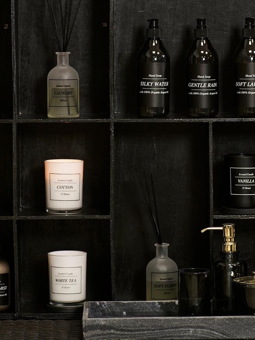 Dyfuzor zapachowy White Tea (puder & biała herbata), Szkło, patyczki rattanowe, Transparentny, czarny, Ø 7 x W 29 cm
