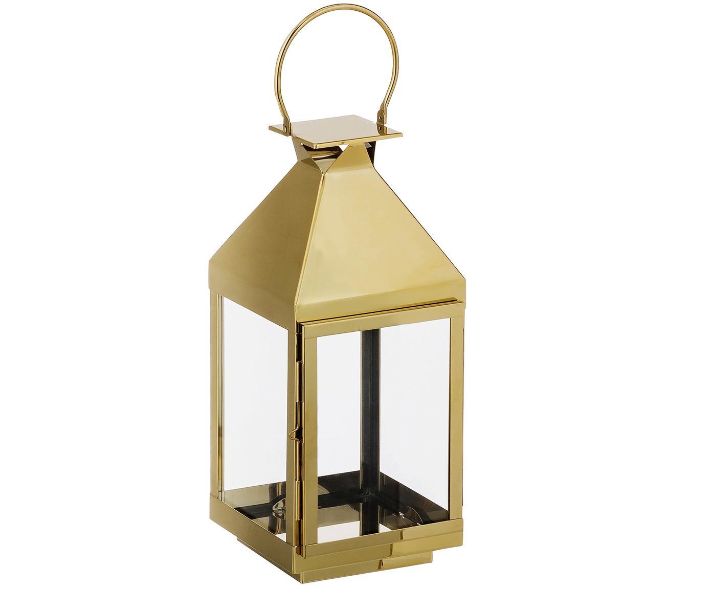 Lantaarn Grace, Hoogglans gepolijst edelstaal, glas, Goudkleurig, hoogglans gepolijst, H 50 cm