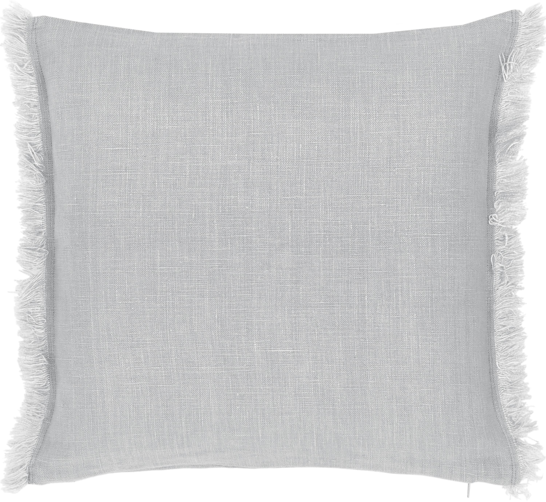 Funda de cojín de lino con flecos Luana, 100%lino, Gris claro, An 40 x L 40 cm