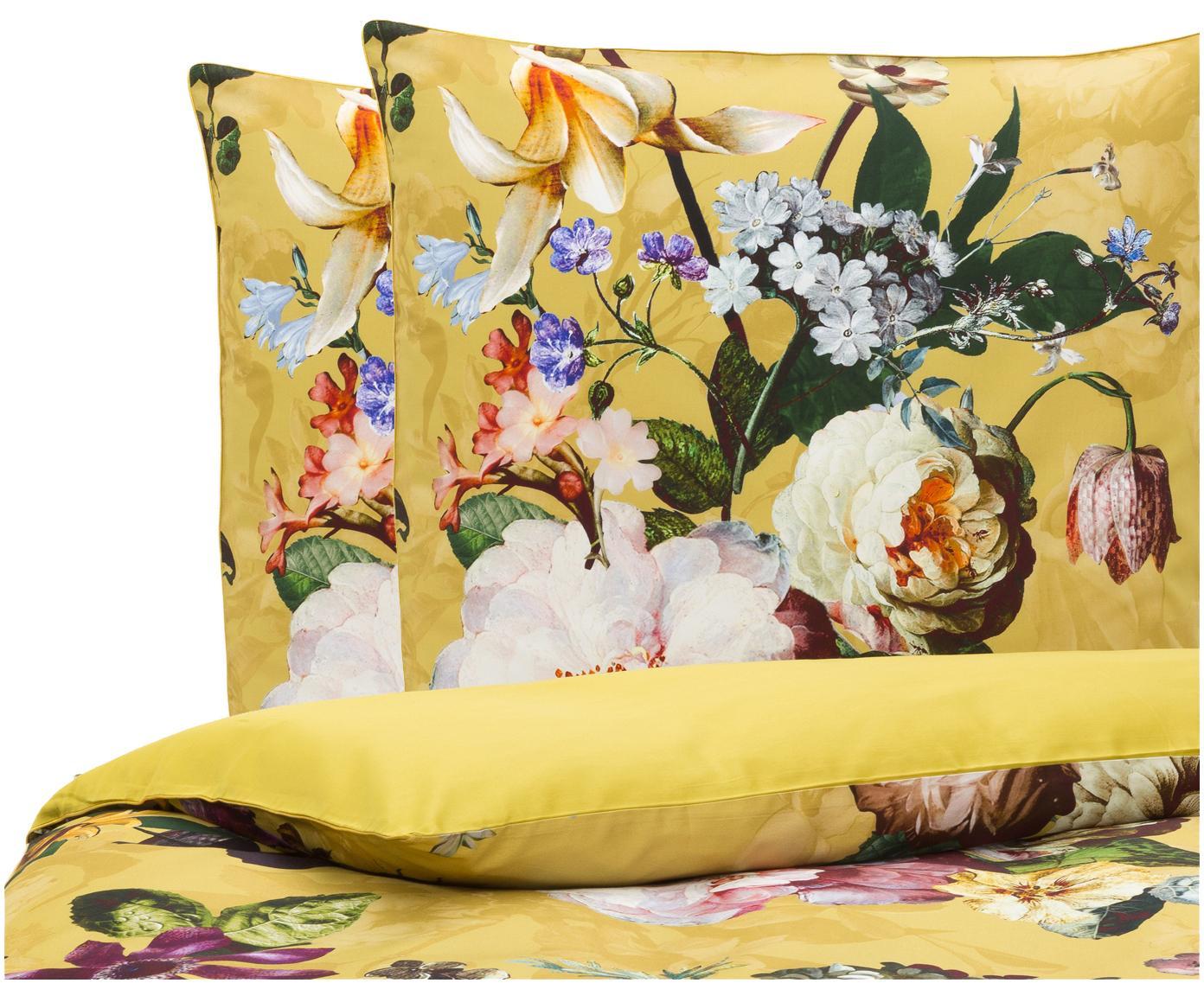 Katoenen dekbedovertrek Fleur, Goudgeel, 240 x 220 cm