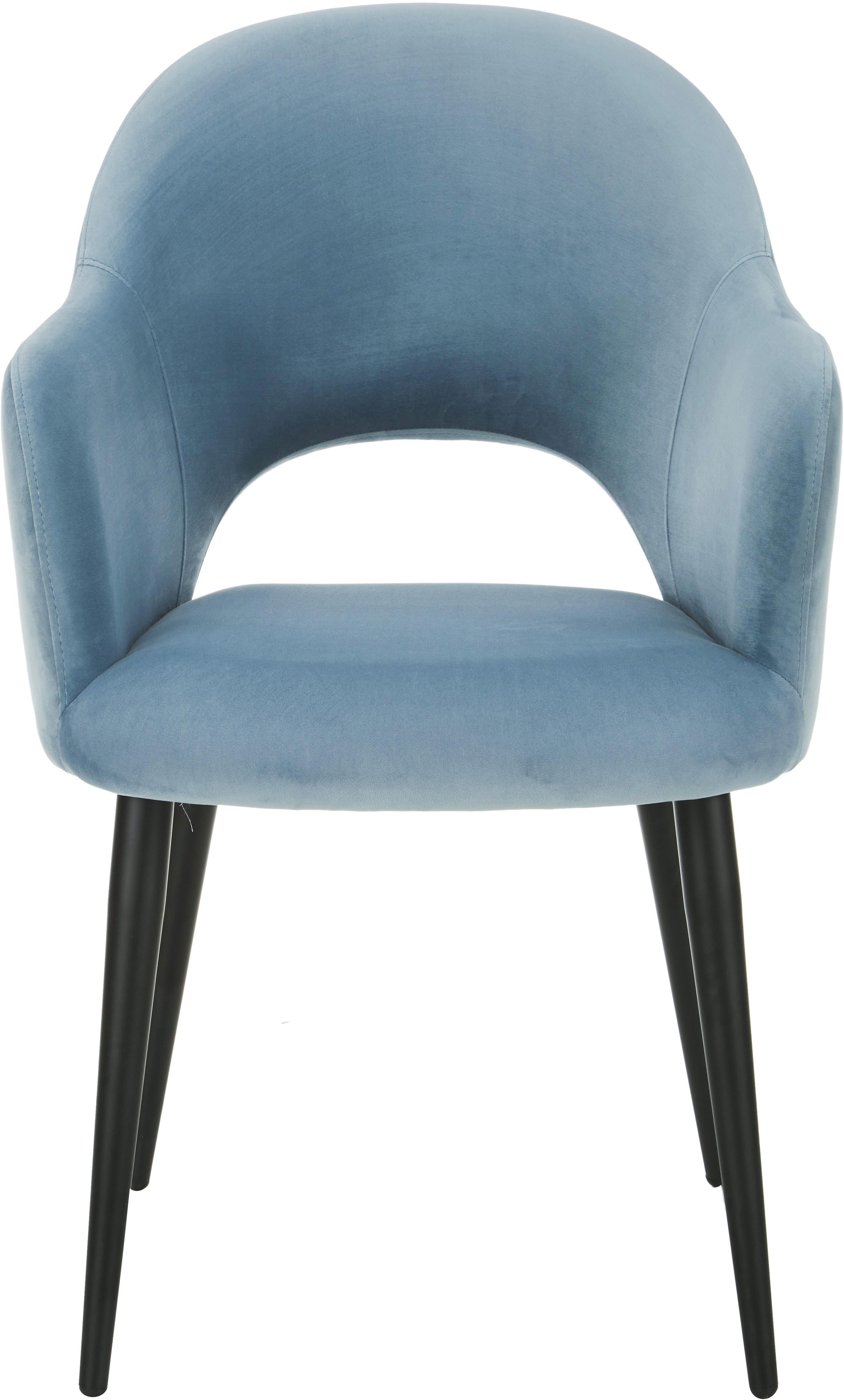 Chaise en velours et à accoudoirs Rachel, Velours bleu ciel