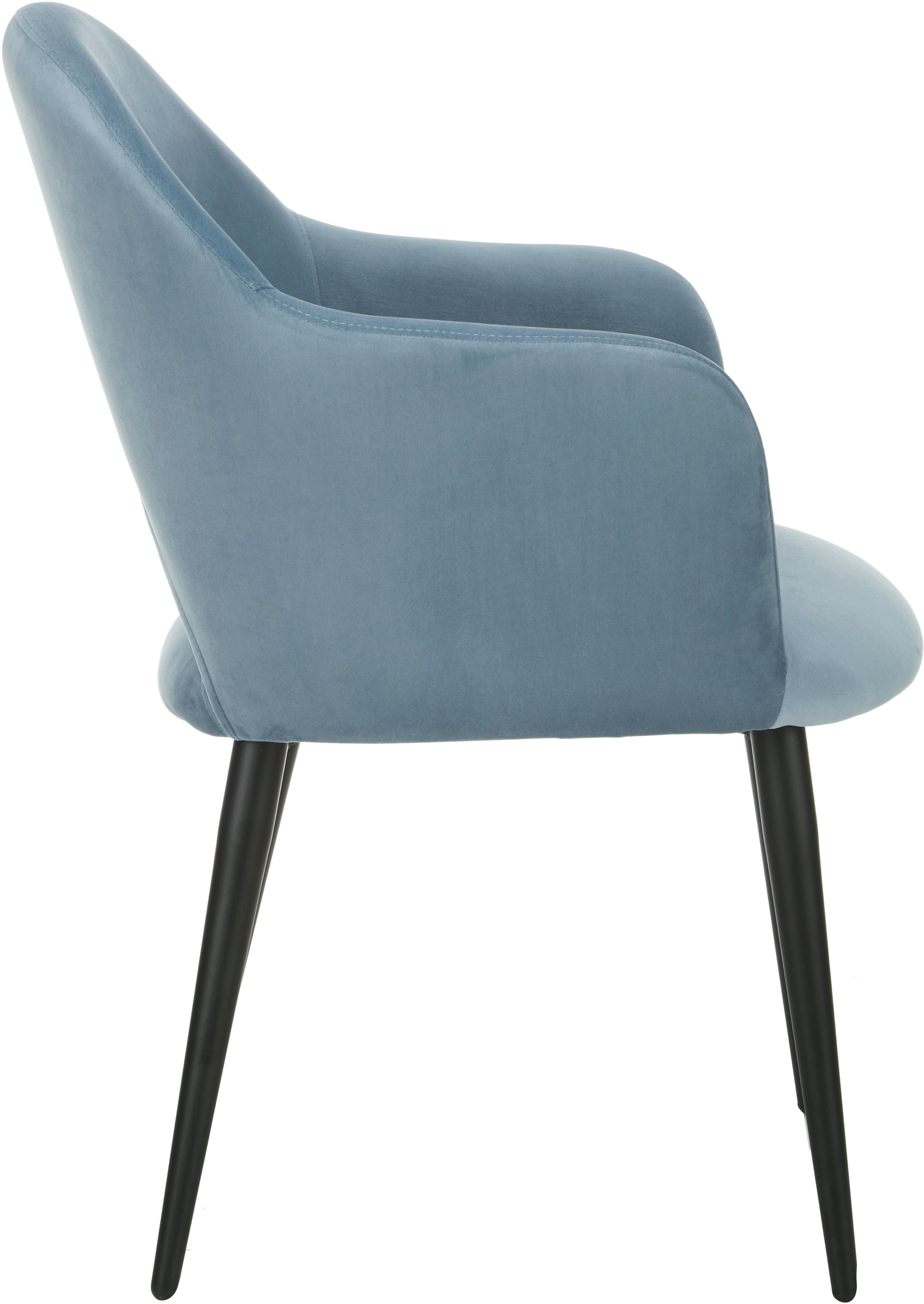 Sedia con braccioli in velluto Rachel, Rivestimento: velluto (poliestere) Con , Gambe: metallo verniciato a polv, Velluto azzurro, Larg. 47 x Prof. 64 cm