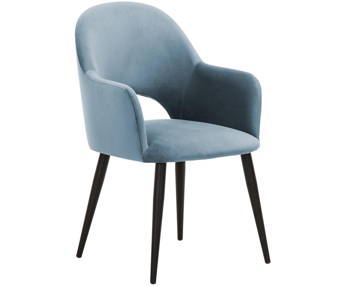 Krzesło z podłokietnikami z aksamitu Rachel, Tapicerka: aksamit (poliester) 5000, Nogi: metal malowany proszkowo, Aksamitny jasny niebieski, S 47 x G 64 cm