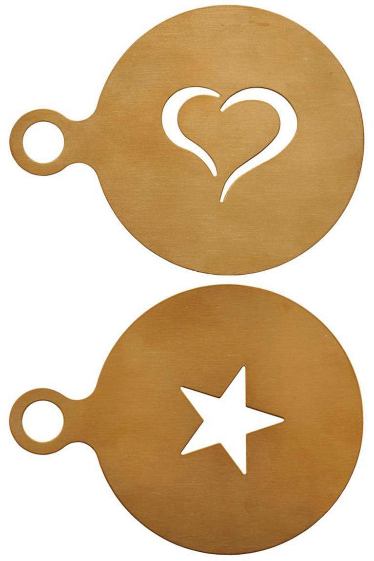 Cappuccino-Schablonen Gold, 2er-Set, Edelstahl, beschichtet, Messingfarben, Ø 10 cm
