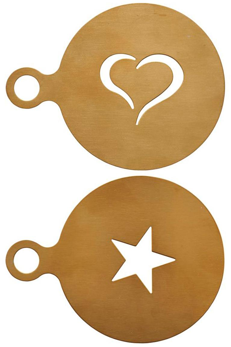 Stencil per cappuccino Gold, set di 2, Acciaio inossidabile rivestito, Ottonato, Ø 10 cm