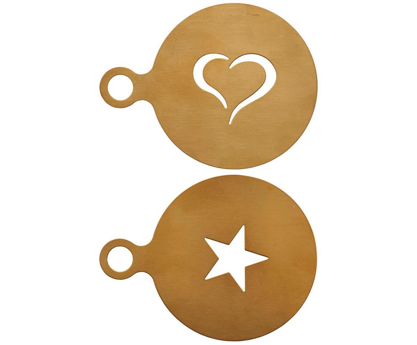 Cappuccino sjablonenset goudkleurig, 2 stuks, Gecoat edelstaal, Messingkleurig, Ø 10 cm