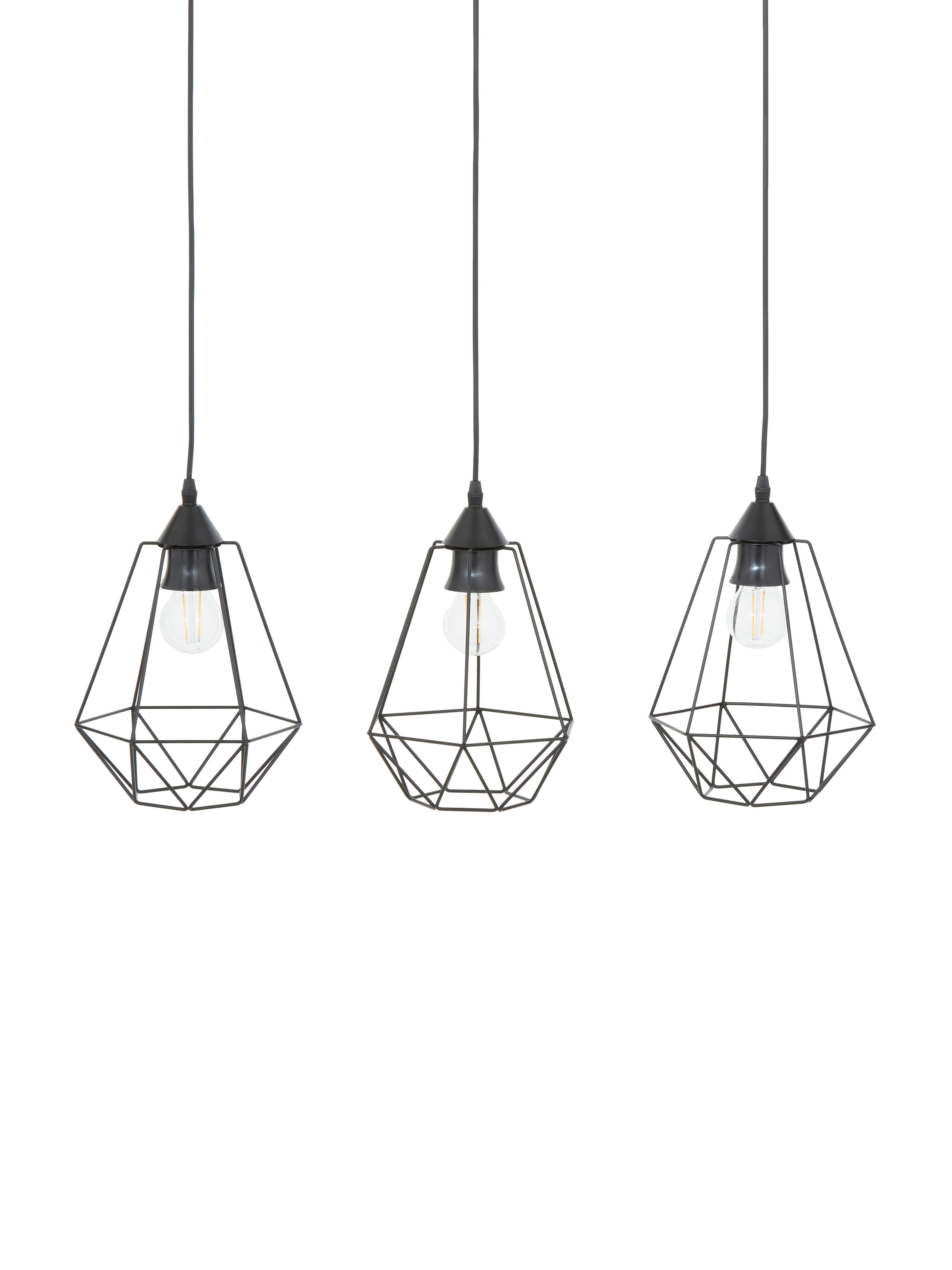 Lampa wisząca Wire, Mocowanie: czarny Klosz: czarny Kabel: czarny, S 75 x W 25 cm