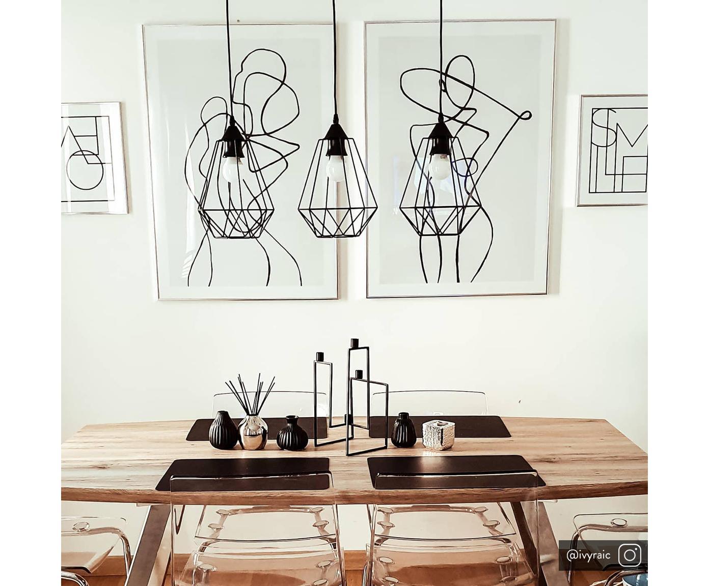 Hanglamp Wire, Baldakijn: metaal, Lampenkap: metaal, Baldakijn: zwart. Lampenkap: zwart. Snoer: zwart, 75 x 25 cm