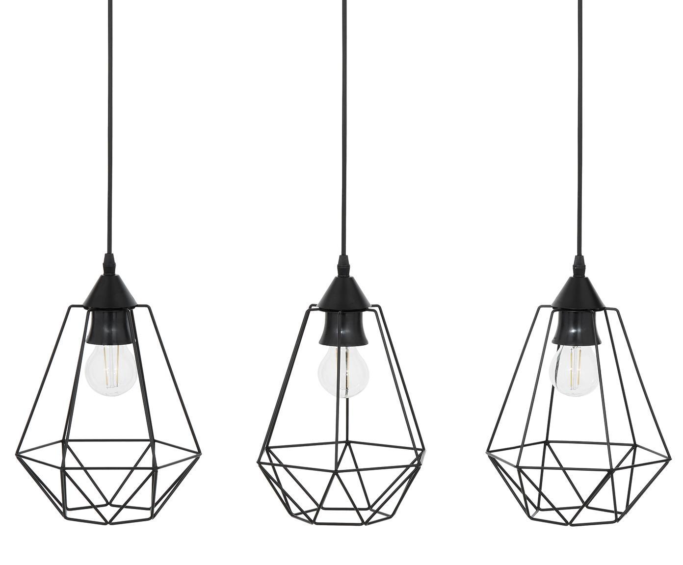 Lampada a sospensione Wire, Baldacchino: metallo, Paralume: metallo, Baldacchino: nero Paralume: nero Cavo: nero, Larg. 75 x Alt. 25 cm