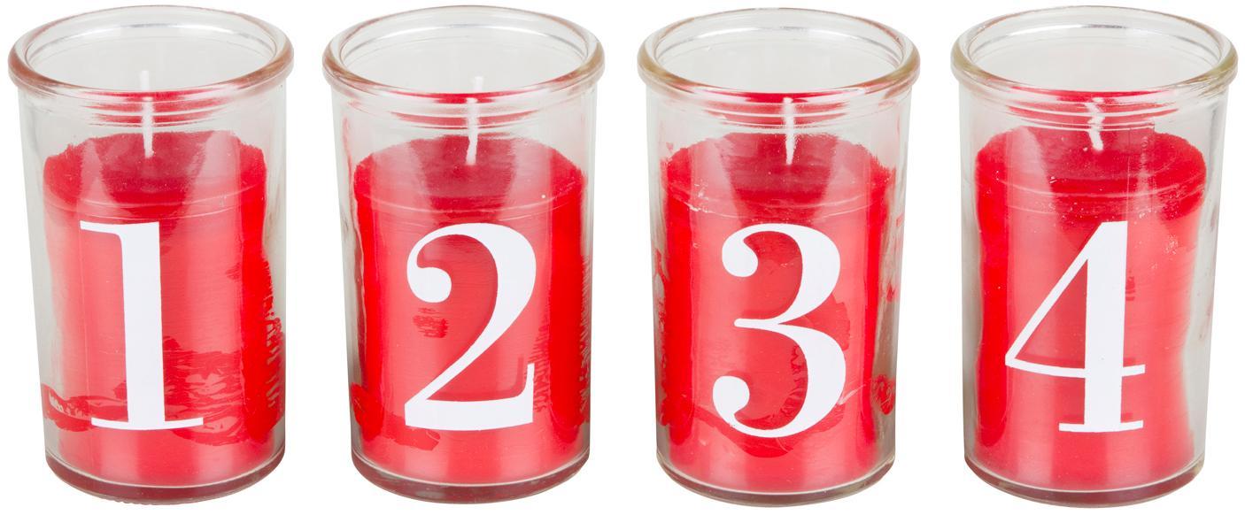 Kaarsenset Numero, 4-delig, Glas,  paraffine, Transparant, rood, wit, Ø 6 x H 10 cm