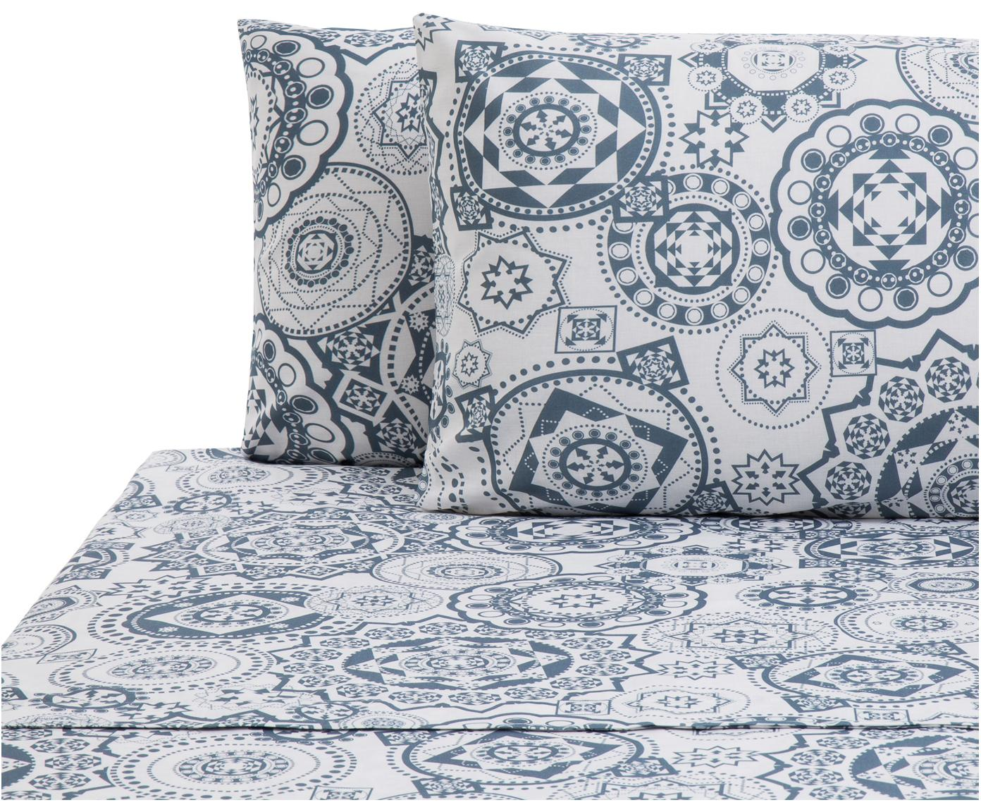 Set lenzuola in cotone Morris 2 pz, Cotone, Fronte: blu, bianco Retro: bianco, 240 x 270 cm