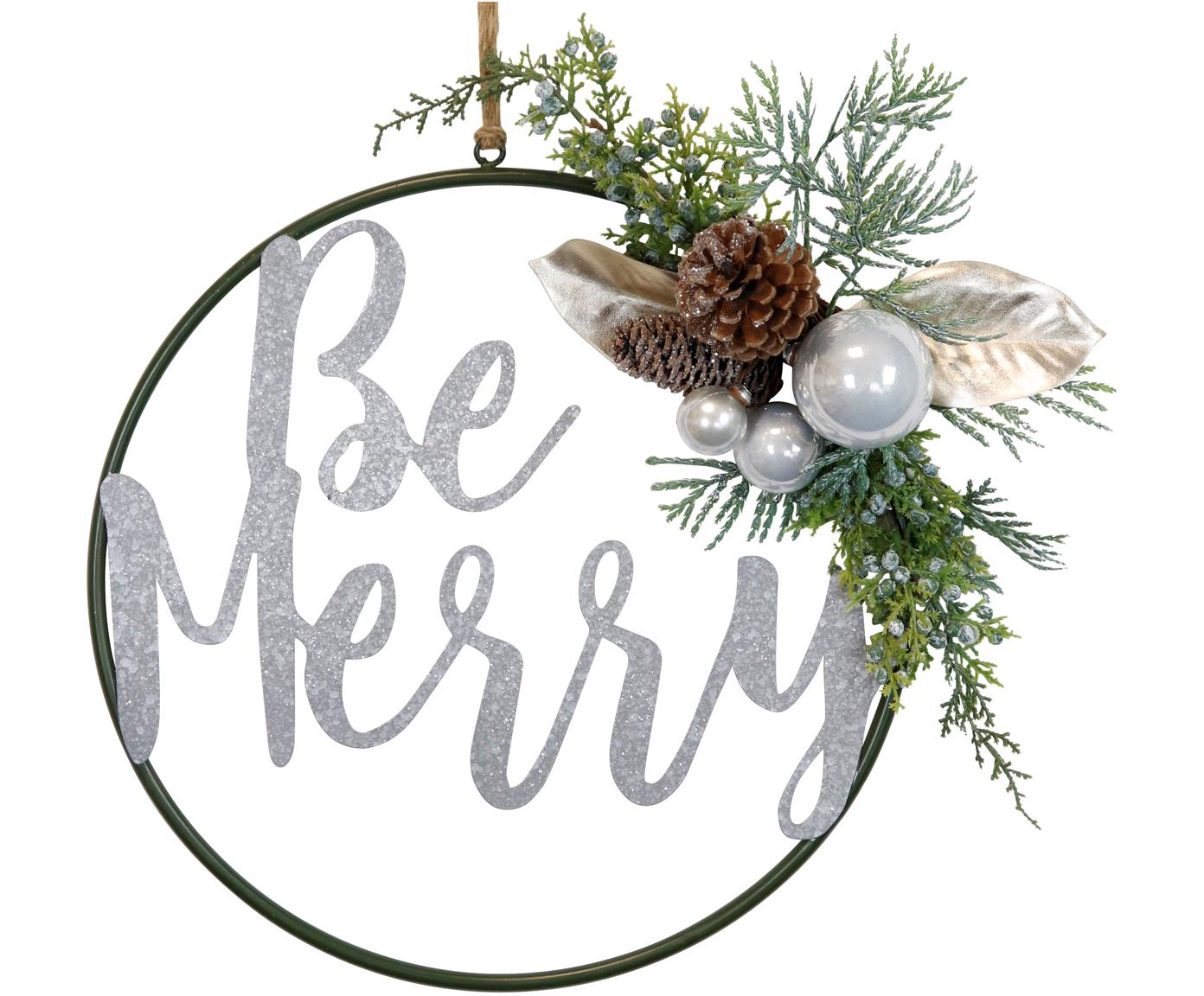 Adorno navideño Be Merry, Metal, plástico, cordón, Verde, marrón, blanco, Ø 36 cm