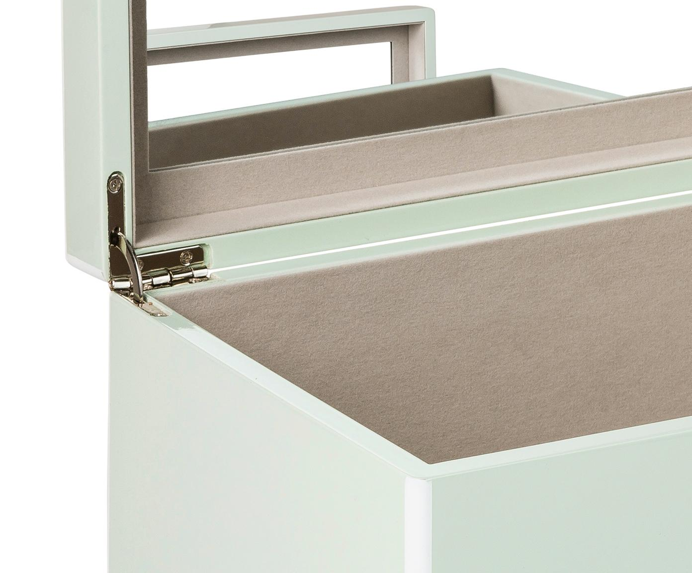 Schmuckbox Taylor mit Spiegel, Unterseite: Samt zur Schonung der Möb, Mint, 26 x 13 cm