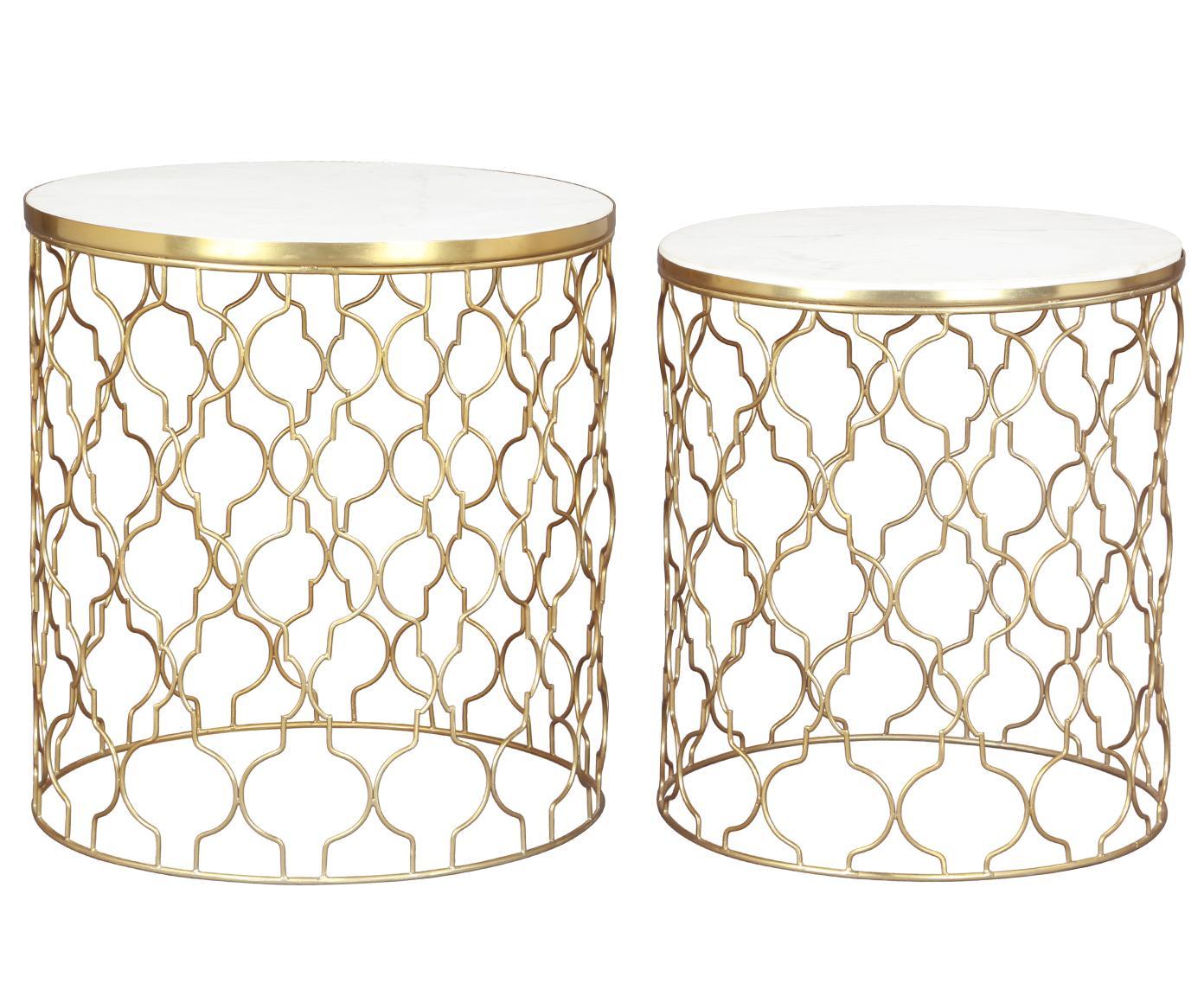 Set de mesas auxiliares de mármol Blake, 2uds., Tablero: mármol natural, Estructura: metal, recubierto, Blanco, dorado, Tamaños diferentes