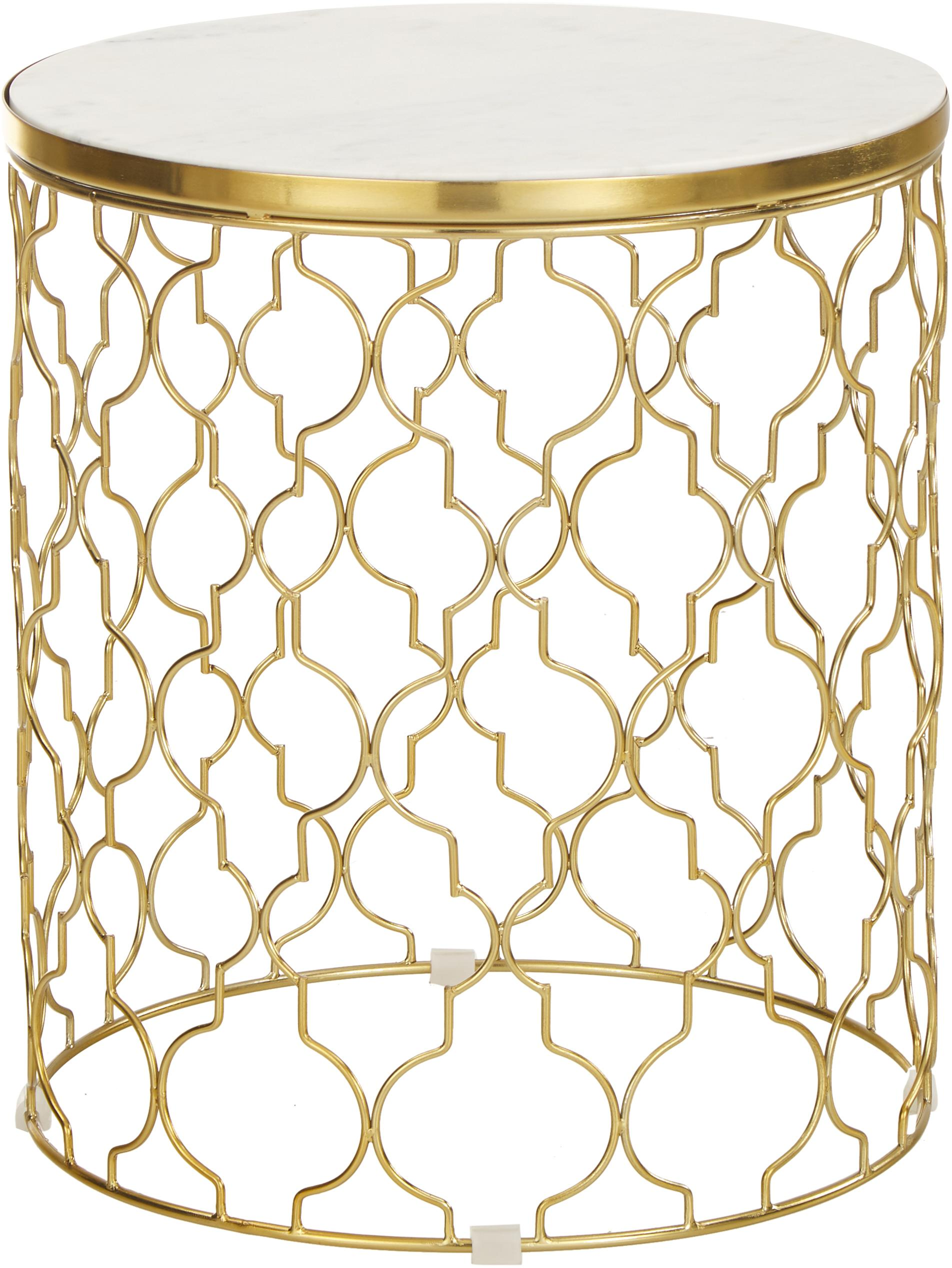 Set 2 tavolini in marmo Blake, Struttura: metallo rivestito, Ripiani: marmo bianco Struttura: oro, Set in varie misure