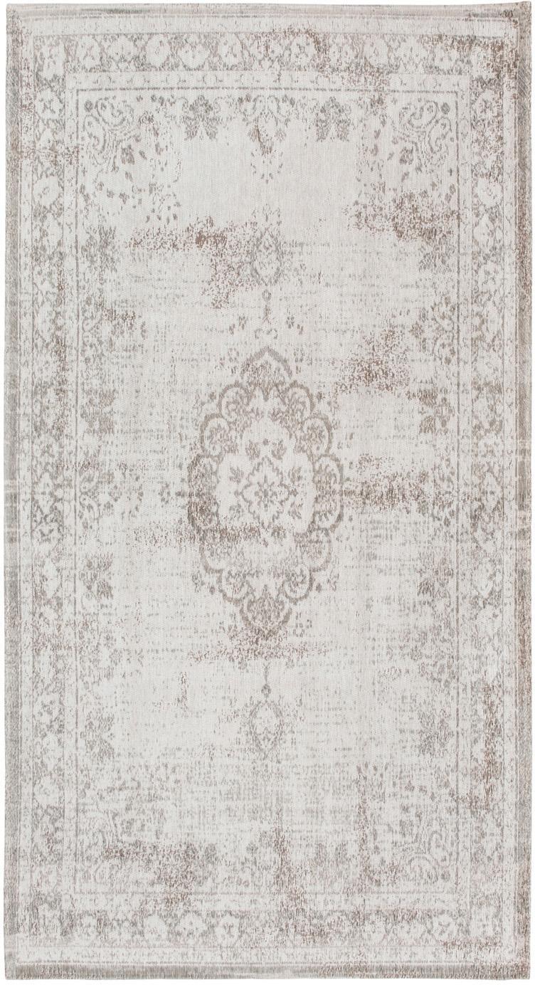 Tappeto vintage in ciniglia Medaillon, Tessuto: Jacquard, Retro: Filato di ciniglia, rives, Grigio chiaro, marrone, Larg. 80 x Lung. 150 cm (taglia XS)