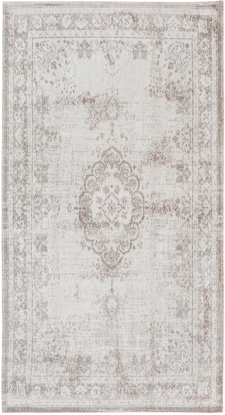Vintage Chenilleteppich Medaillon, Vorderseite: 100% Chenillegarn (Baumwo, Webart: Jacquard, Rückseite: Chenillegarn, latexbeschi, Hellgrau, Braun, B 80 x L 150 cm (Größe XS)