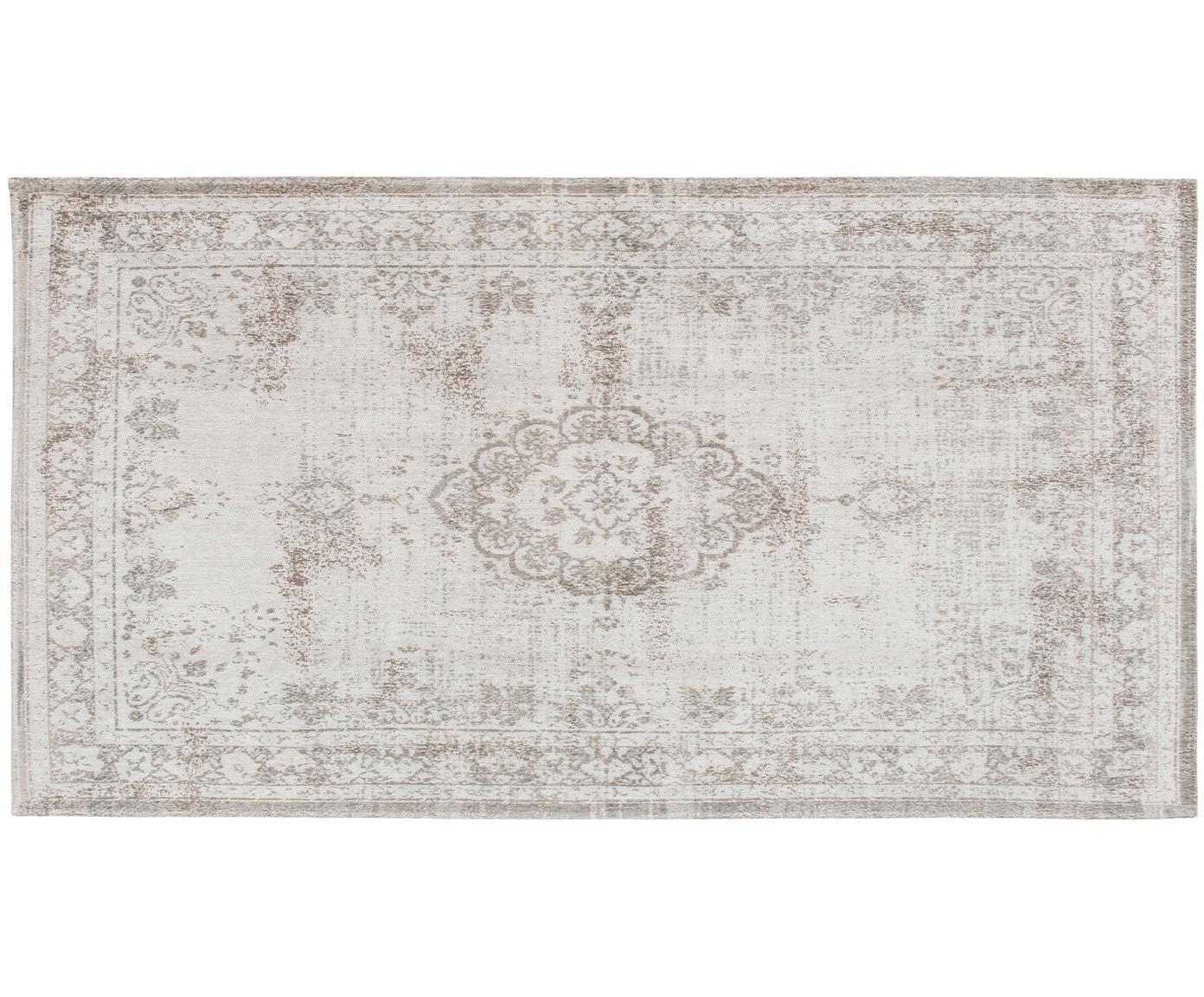 Alfombra de chenilla Medaillon, estilo vintage, Parte superior: 100%chenilla (algodón), Reverso: tejido de chenilla, recub, Gris claro, marrón, An 80 x L 150 cm (Tamaño XS)