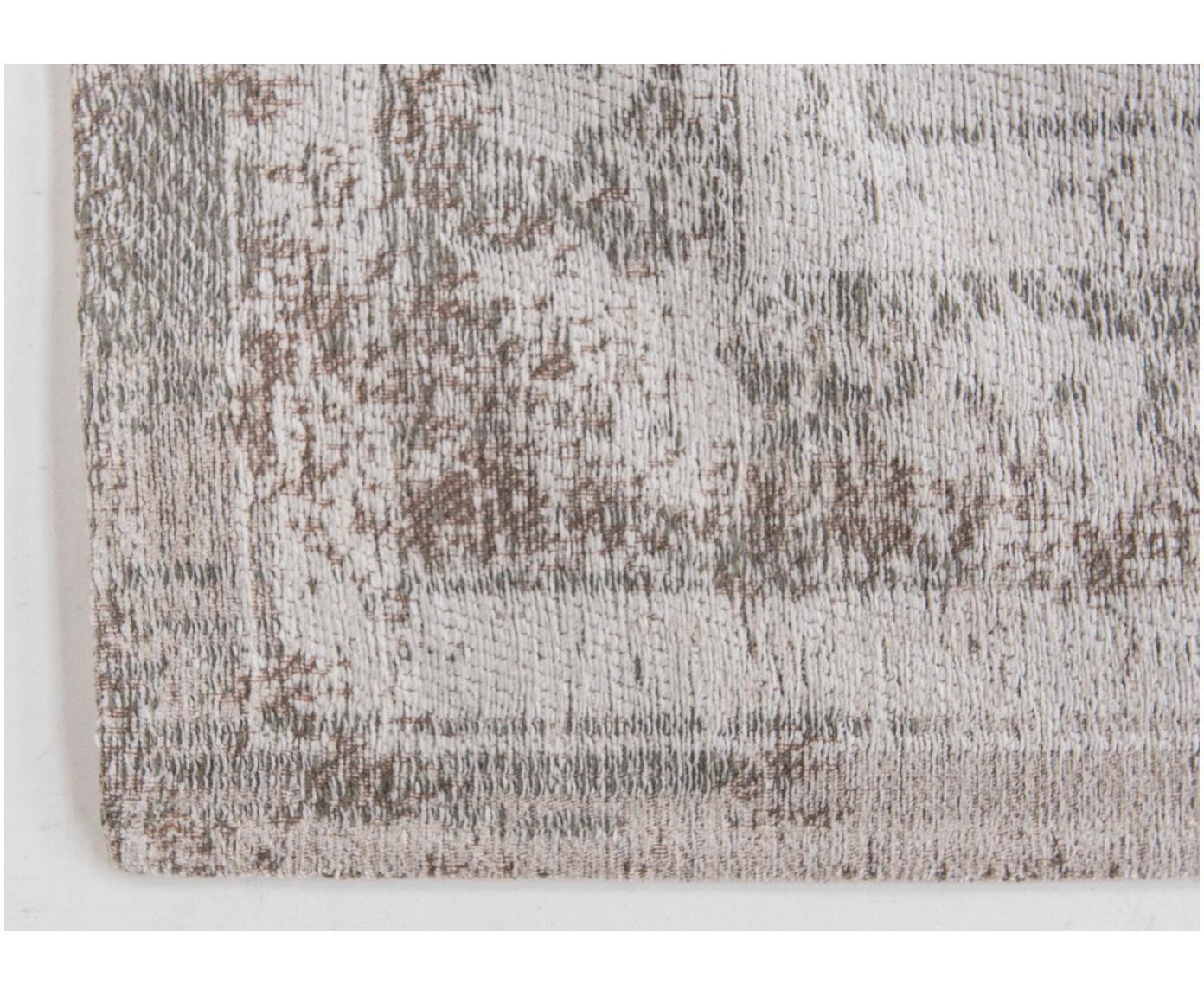 Vintage chenille vloerkleed Medaillon, Bovenzijde: chenille (katoen), Weeftechniek: jacquard, Onderzijde: chenille, gecoat met late, Lichtgrijs, bruin, B 140 x L 200 cm (maat S)
