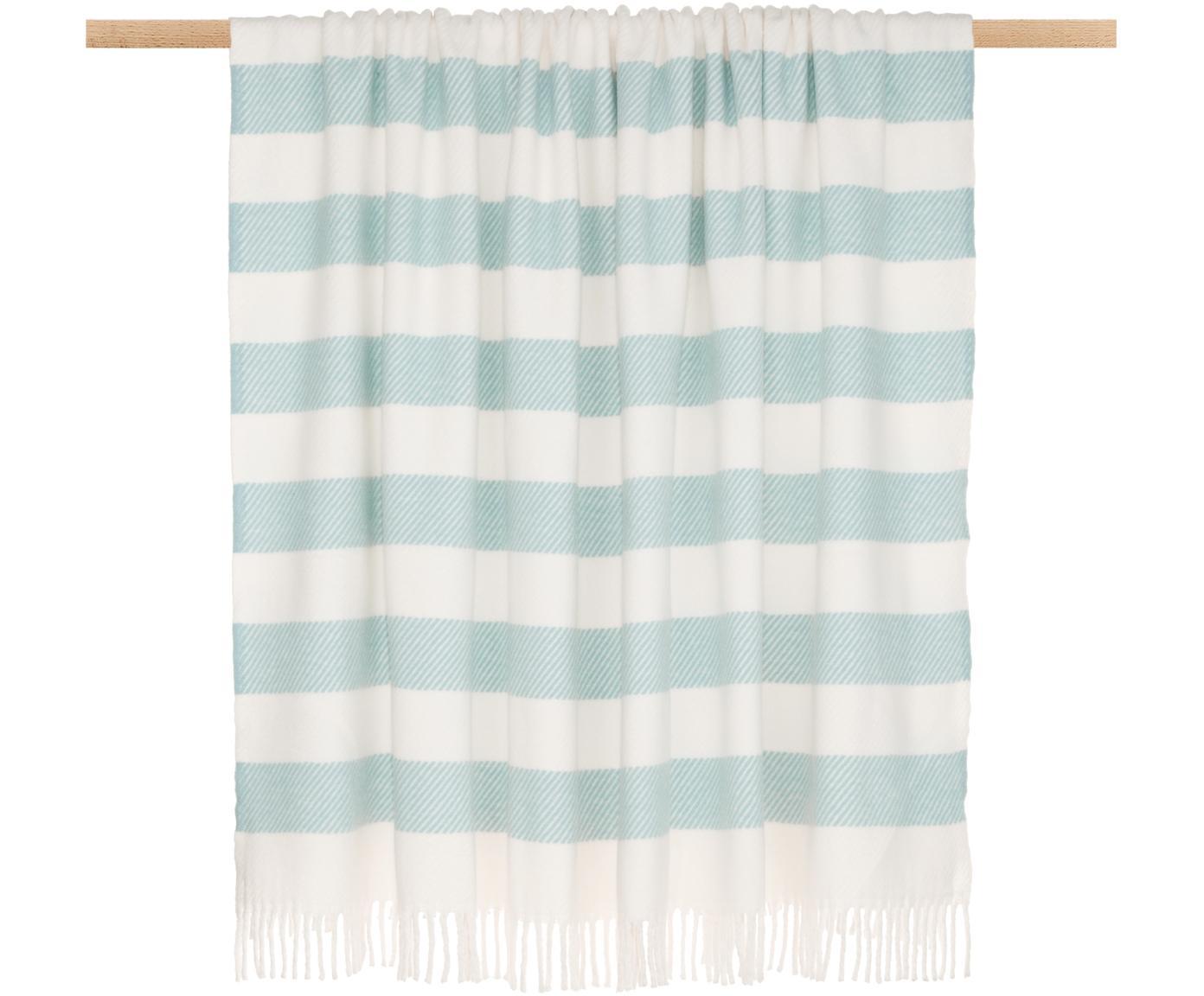 Plaid Candy, 50% Baumwolle, 50% Acryl, Himmelblau, Gebrochenes Weiß, 140 x 180 cm