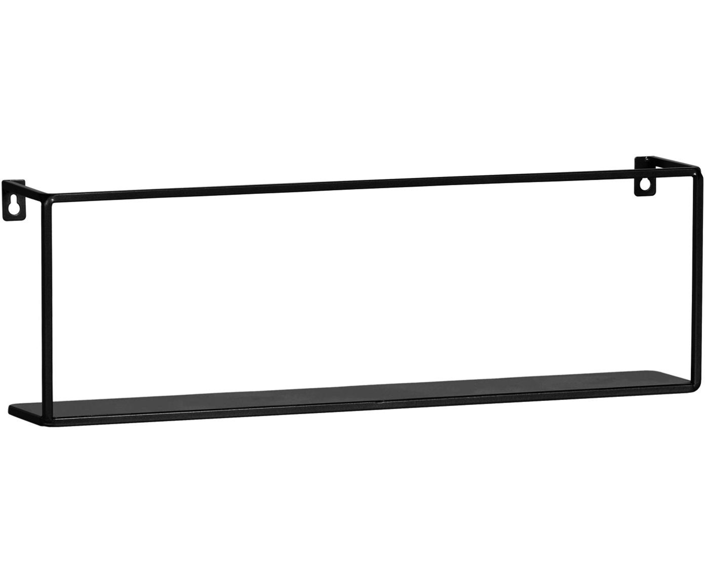 Estante de pared de metal Meert, Metal recubierto, Negro, An 50 x Al 16 cm