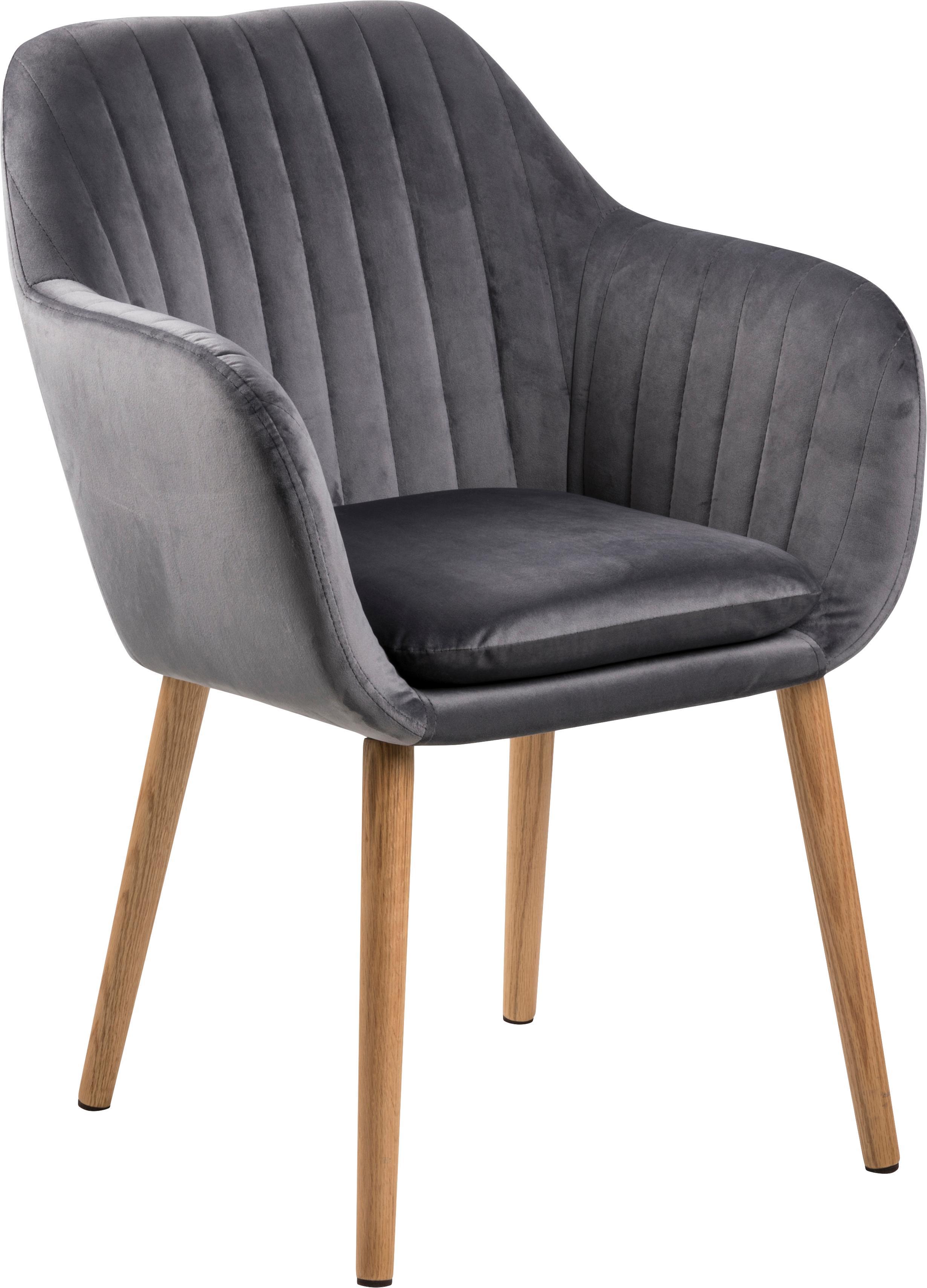 Krzesło z aksamitu z podłokietnikami Emilia, Tapicerka: poliester (aksamit), Nogi: drewno dębowe, olejowane , Aksamit ciemny szary, nogi: czarny, S 57 x G 59 cm