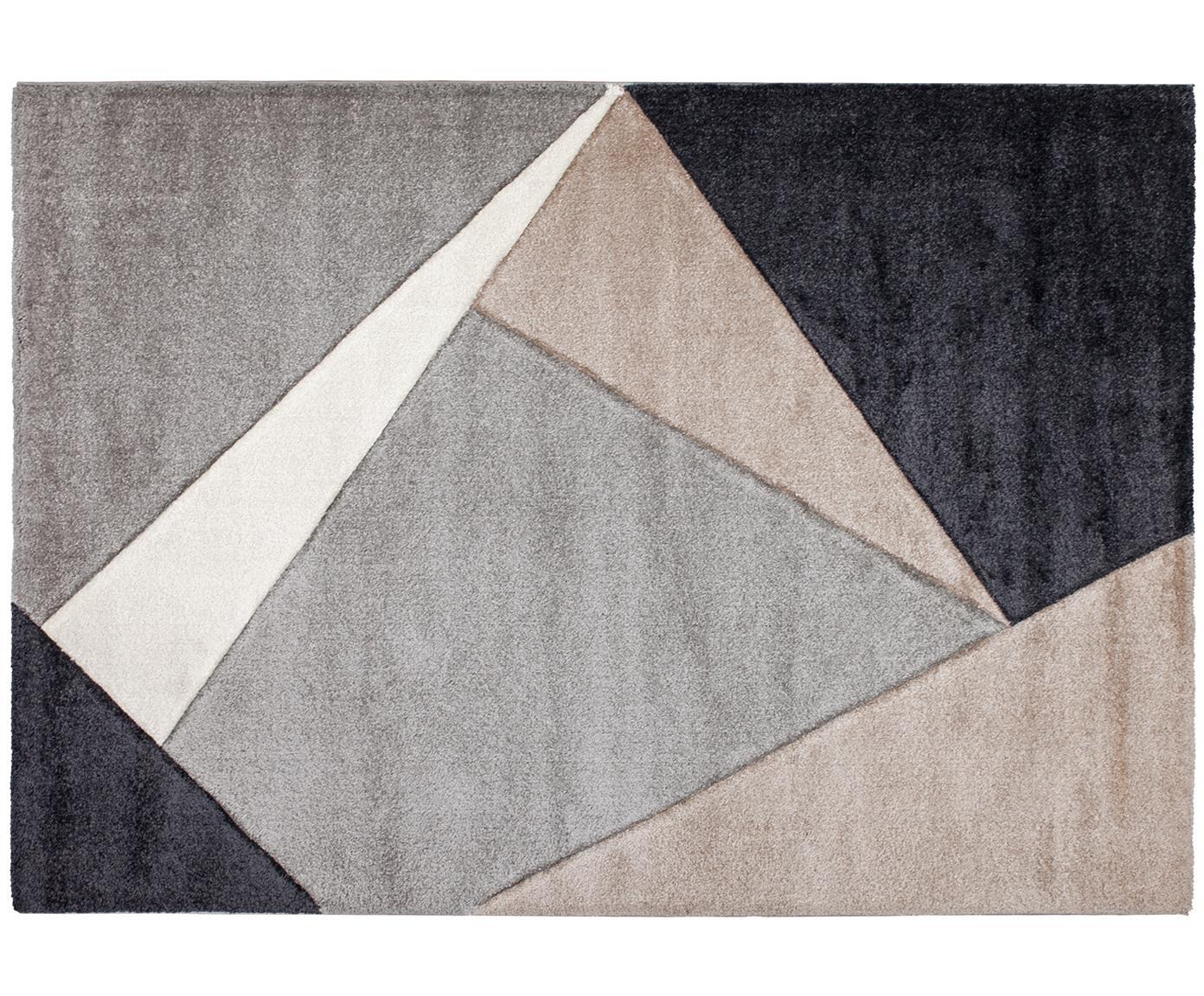 Teppich My Broadway mit geometrischem Muster in Beige-Grau, Flor: 100% Polypropylen, Taupe, Beige, Anthrazit, Grau, B 120 x L 170 cm (Größe S)